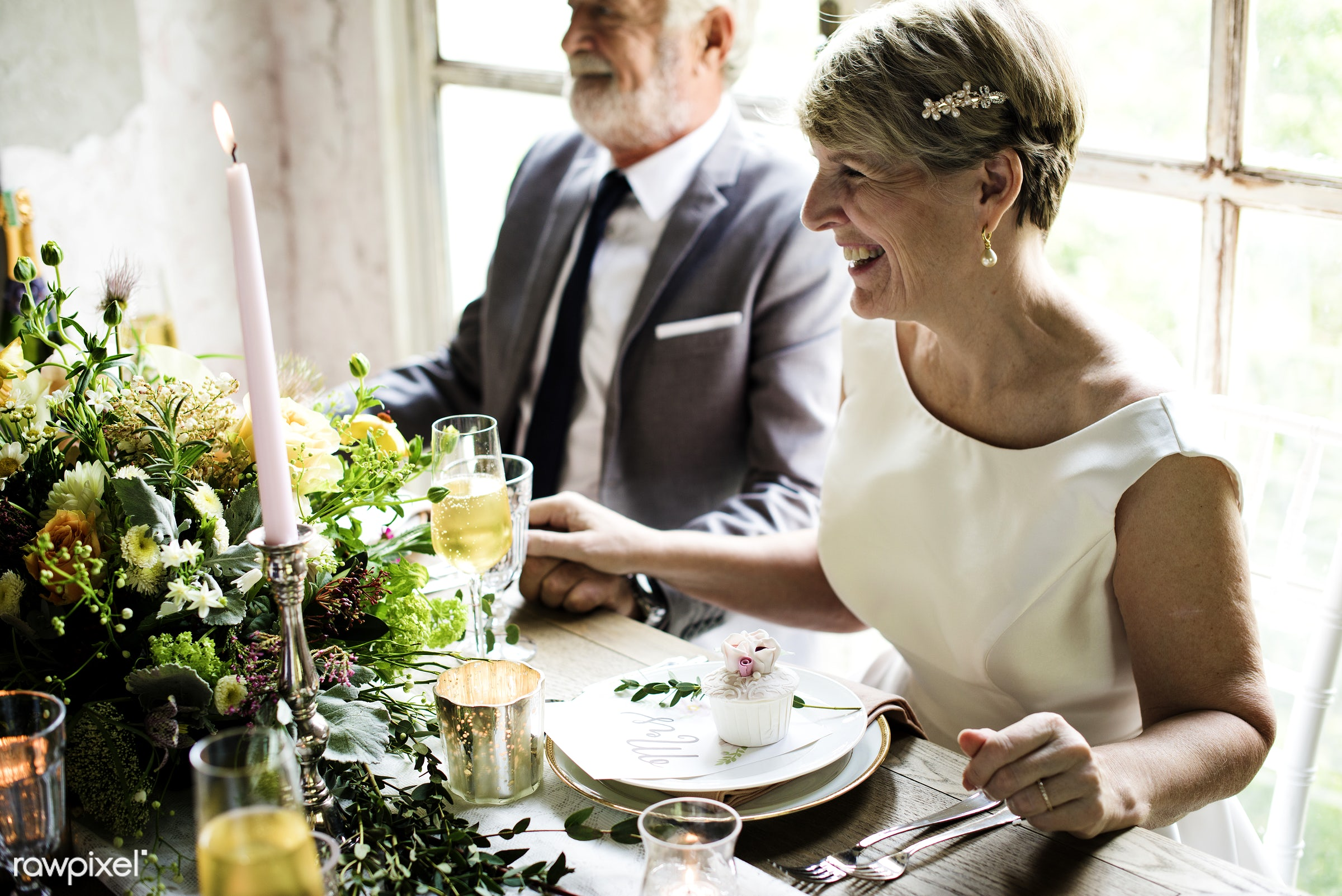 celebration, event, anniversary, banquet, ceremony, cheerful, dining table, flowers, hands, holding, love, occasion, people...