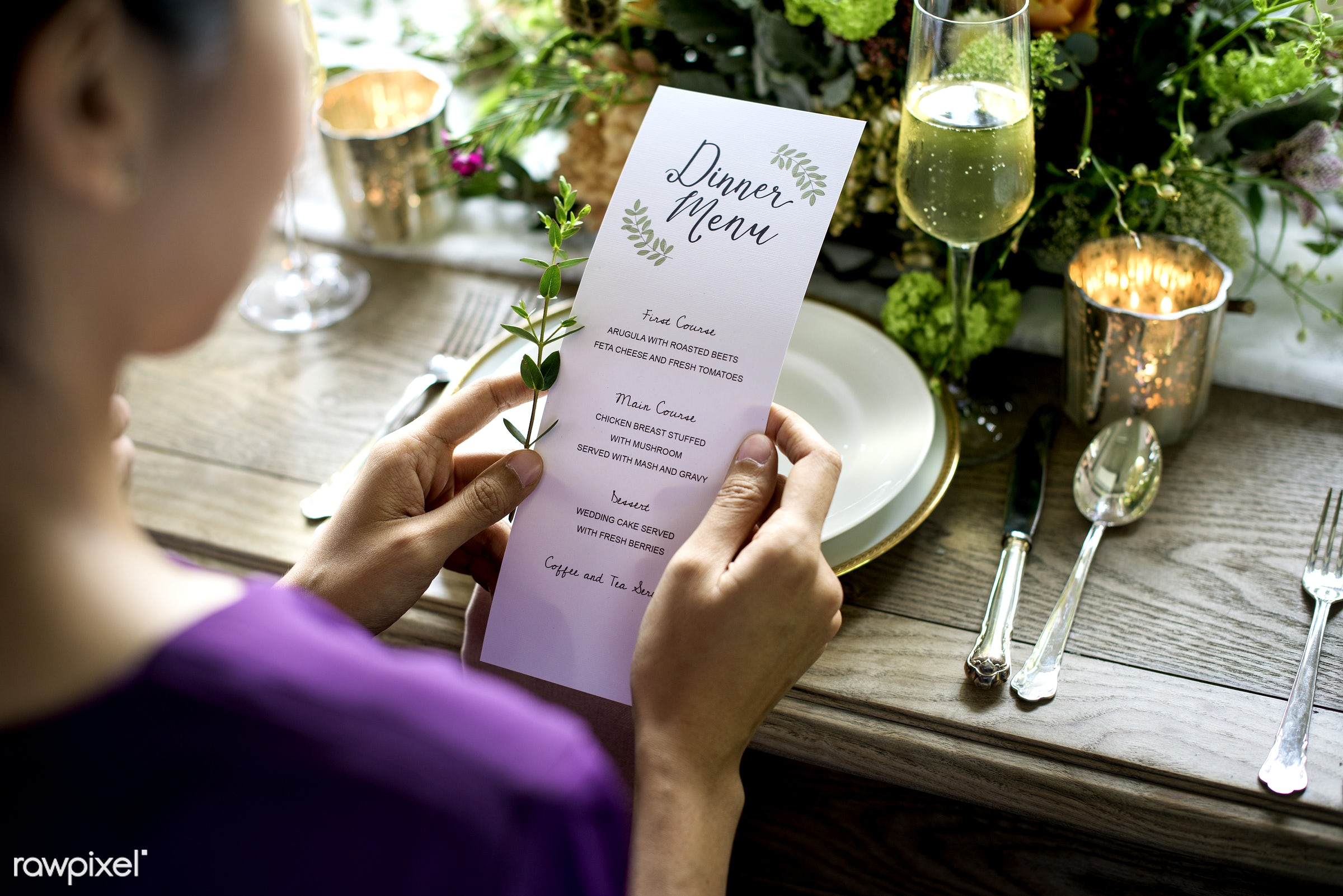 holding, paper, occasion, party, people, hands, event, card, banquet, flowers, closeup, meal, menu, table setting, list,...
