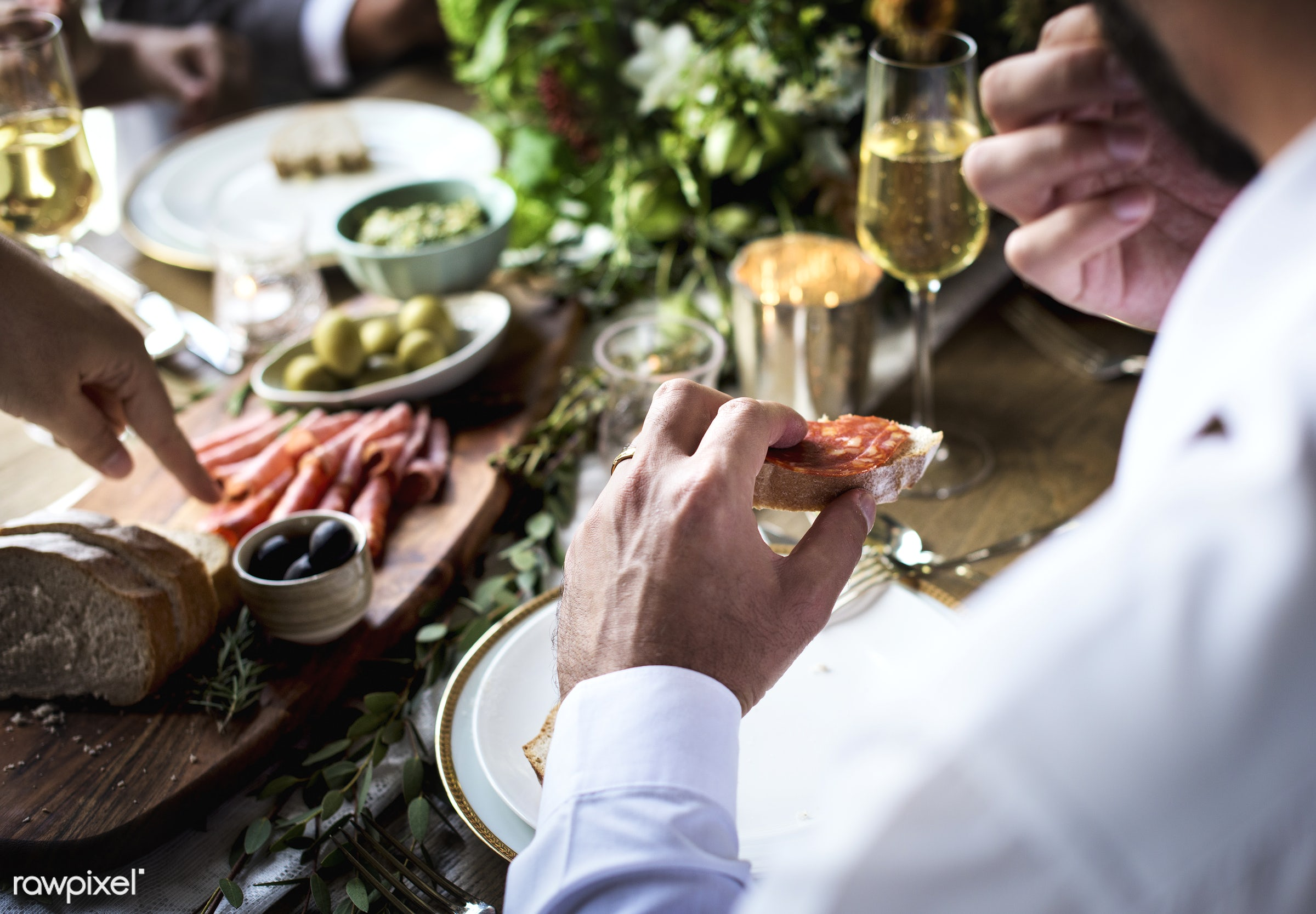 ham, cuisine, holding, occasion, party, people, friends, hands, bread, banquet, man, olives, meal, table setting, dinner,...