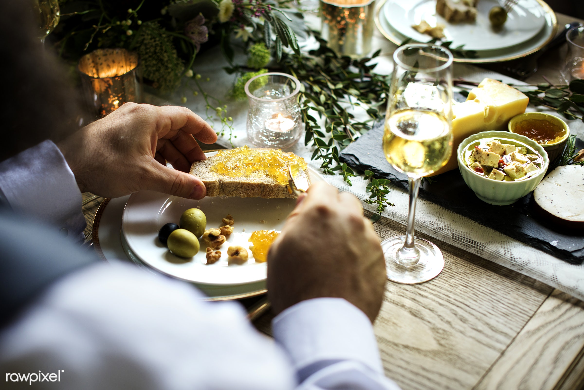 cuisine, holding, occasion, party, people, hands, bread, banquet, man, olives, meal, marmalade, table setting, dinner, jams...