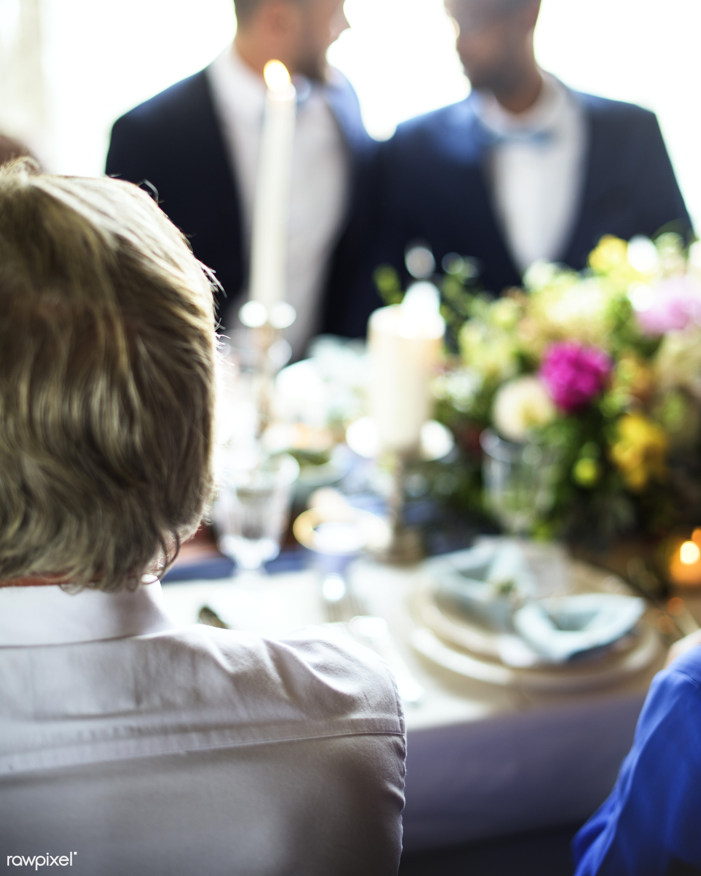 diverse, guests, occasion, people, together, friends, dining table, event, gathering, banquet, flowers, closeup, gay couple...