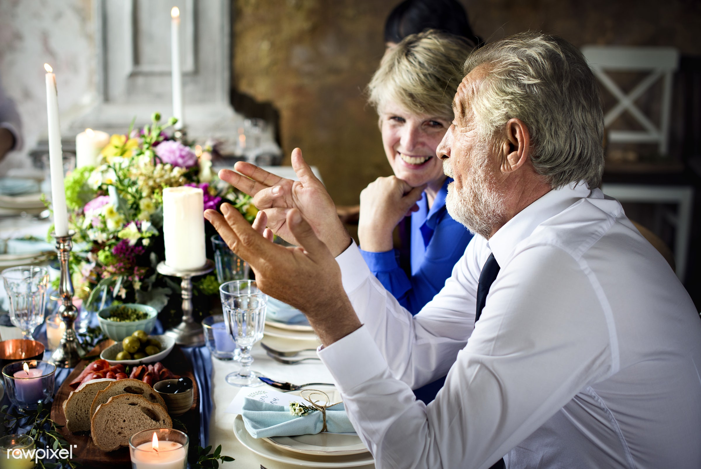 Wedding guests chatting at the table - chatting, cheerful, communication, dining, elderly, friends, guest, old, party,...
