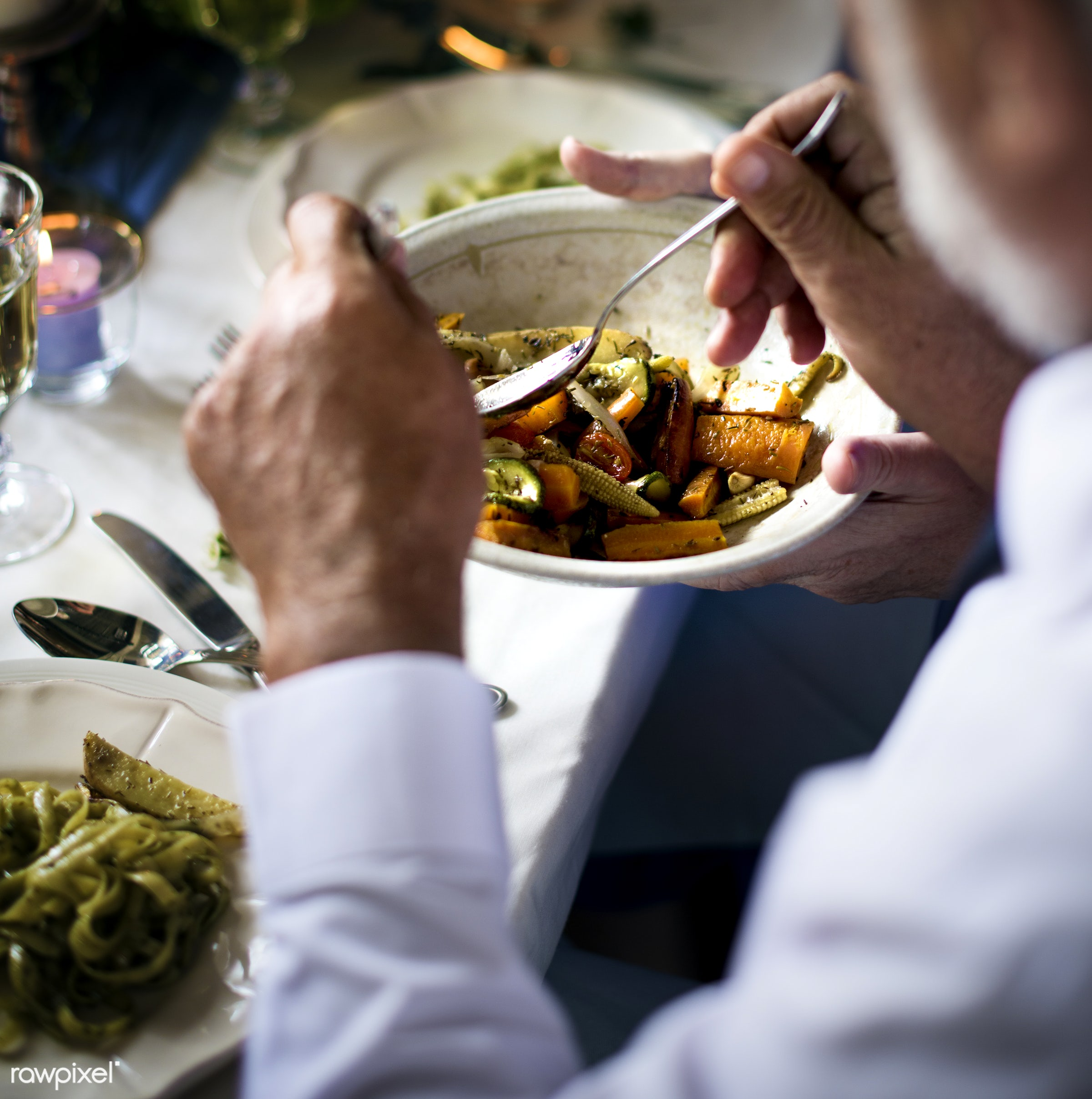 getting, person, cuisine, occasion, cutlery, party, hands, banquet, lunch, veggie, closeup, man, meal, bowl, dinner, food,...