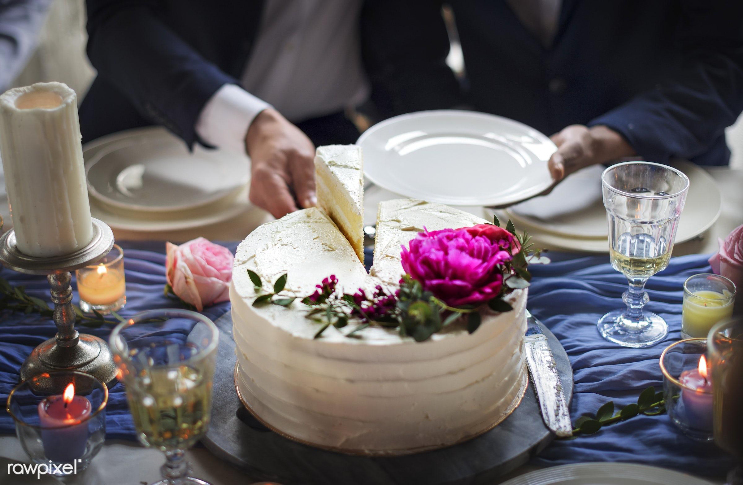 wedding, cake, celebrate, celebration, ceremony, closeup, congrats, congratulations, couple, cut, dessert, diversity,...