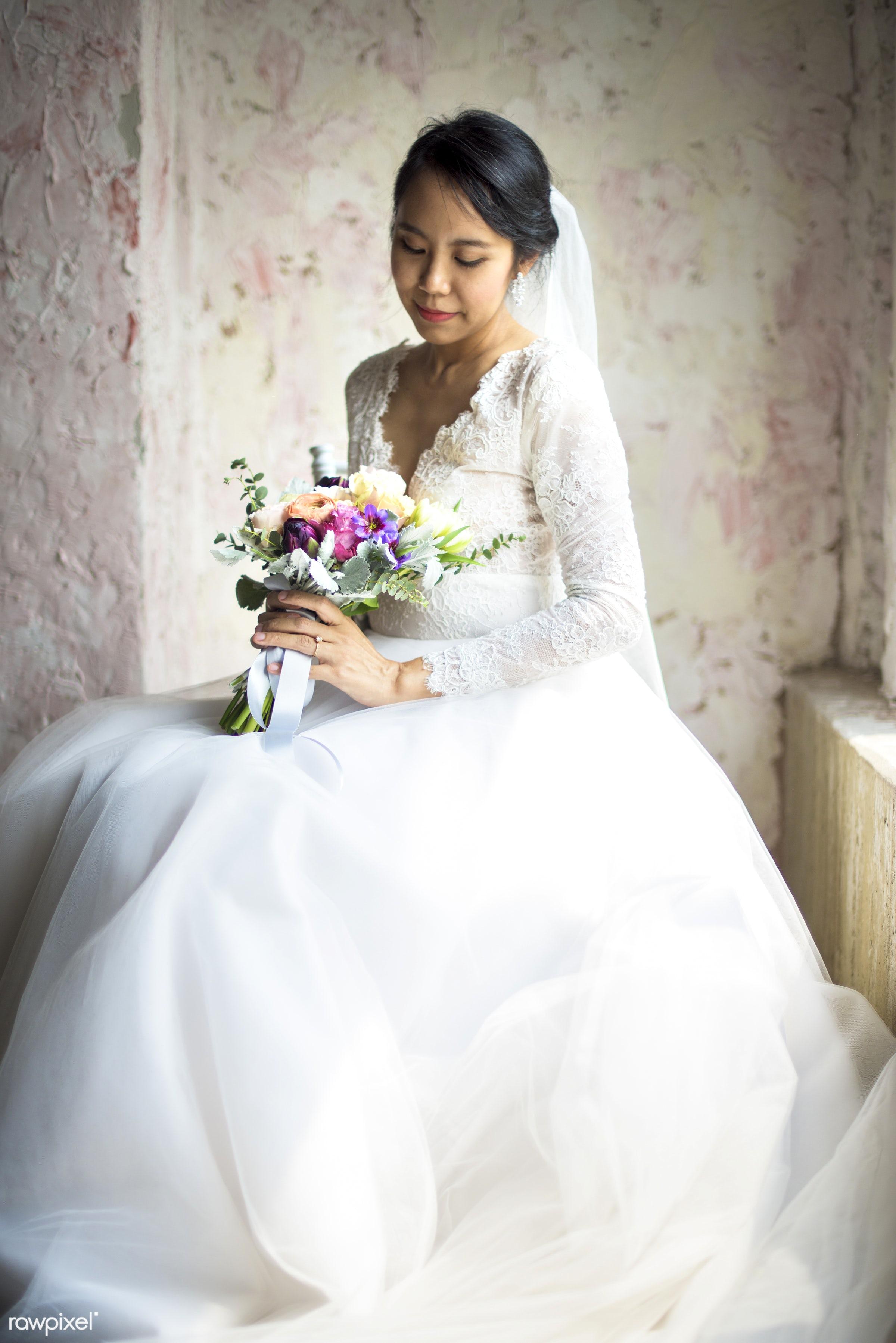 bouquet, diverse, holding, white dress, asian, real, nature, fresh, hands, woman, event, bride, flowers, flora, ceremony,...