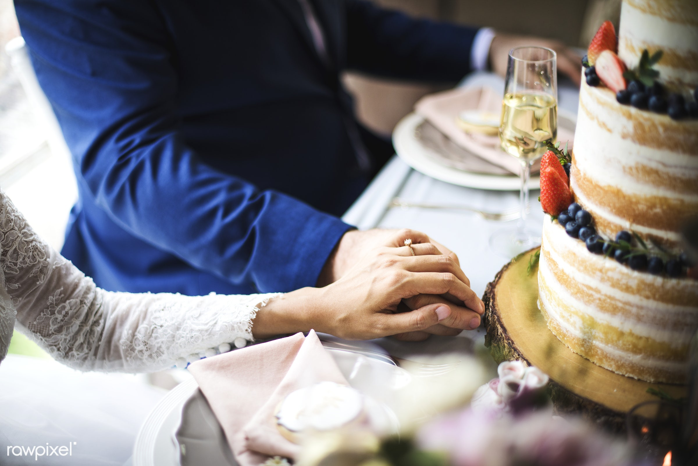 holding, party, people, together, love, married, hands, banquet, couple, bride, closeup, ring, cake, newlywed, togetherness...