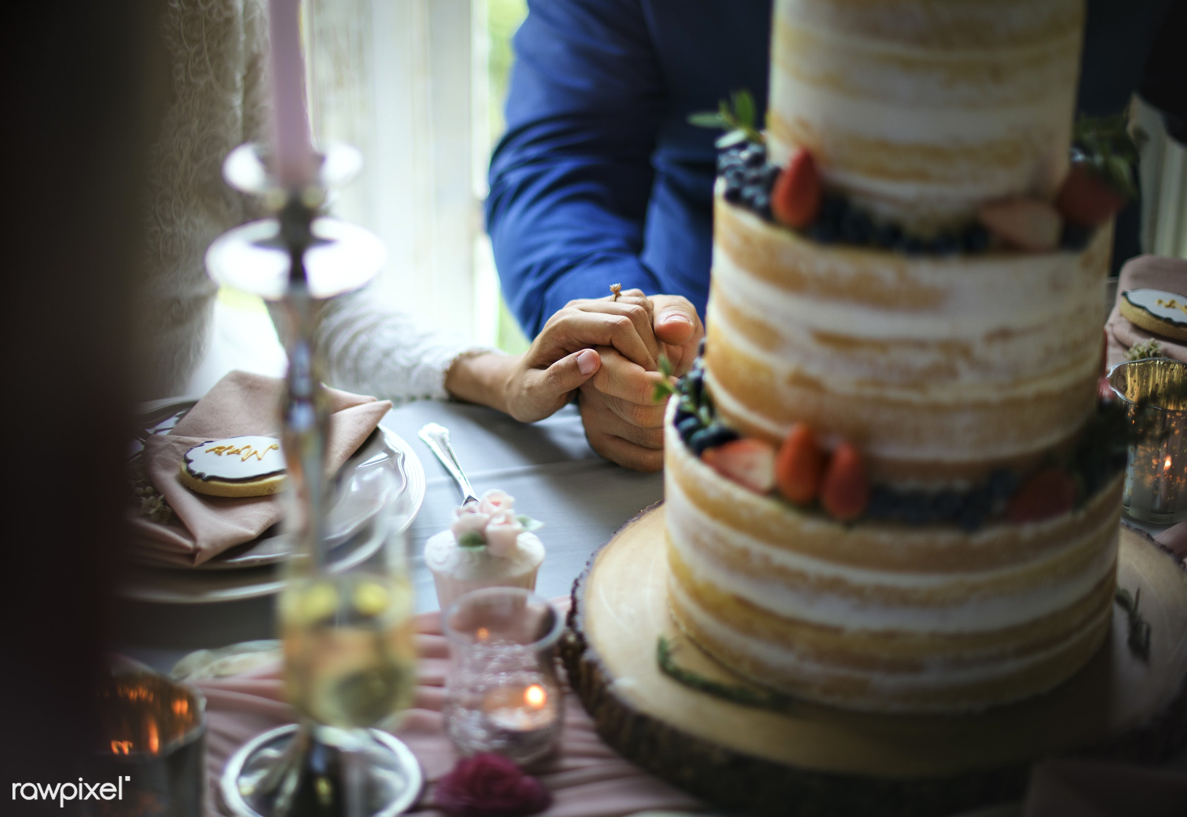 holding, party, people, together, love, married, hands, banquet, couple, bride, closeup, ring, cake, togetherness, ceremony...