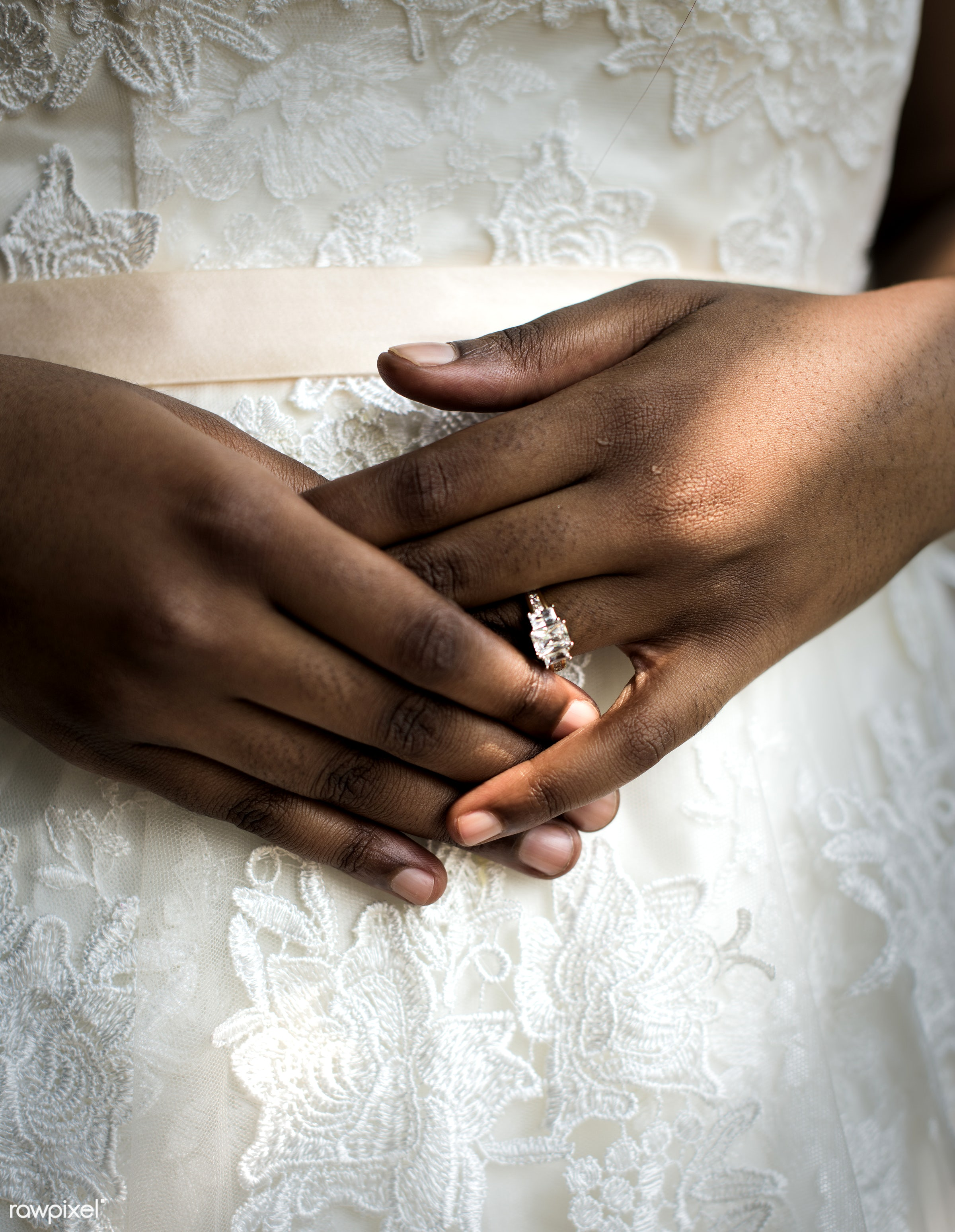 bride, african descent, ceremony, closeup, engagement, fiance, hands, holding, lace, love, newlywed, people, reception, ring...