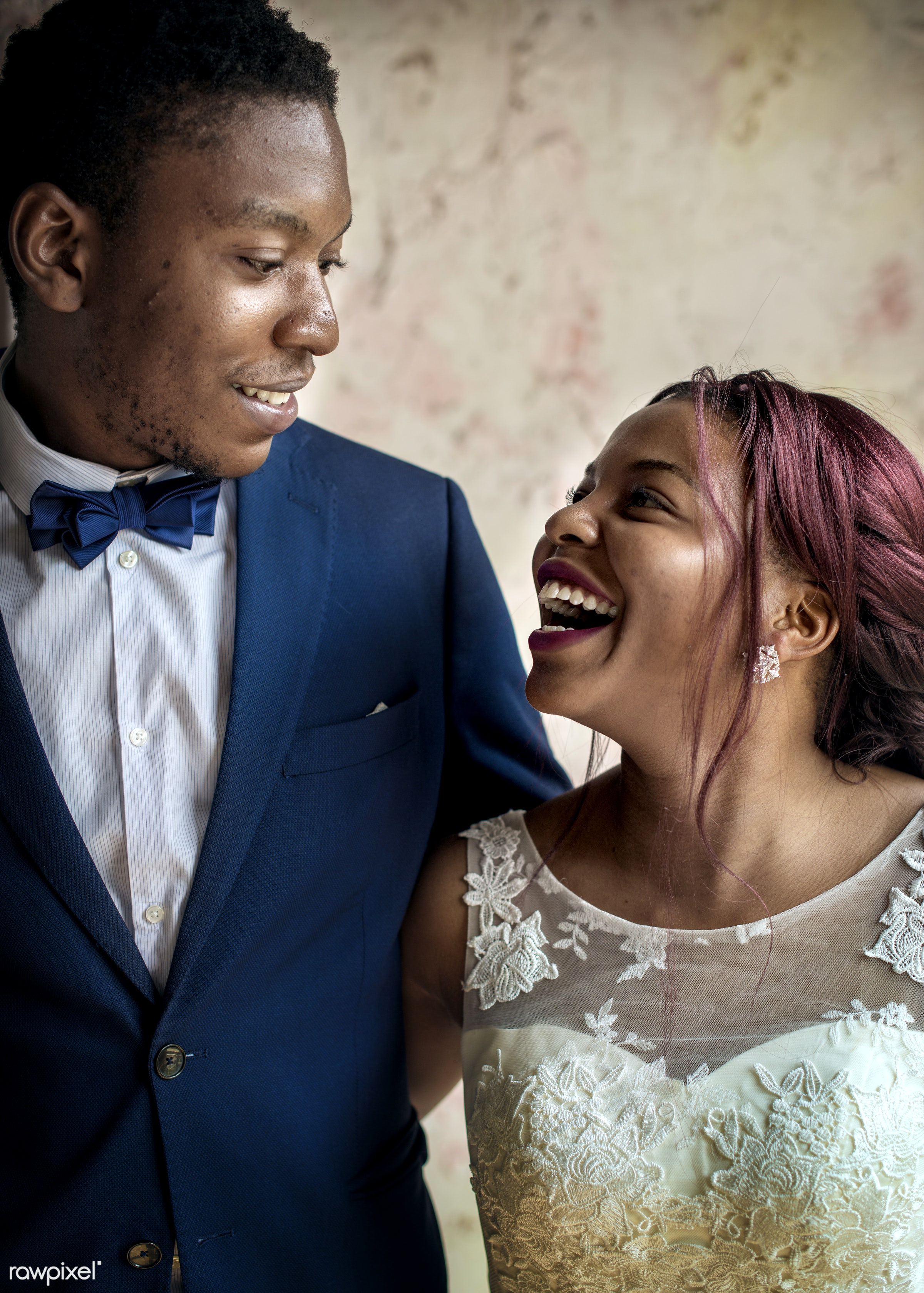 occasion, love, married, couple, bride, cheerful, smiling, black, closeup, african descent, newlywed, togetherness,...