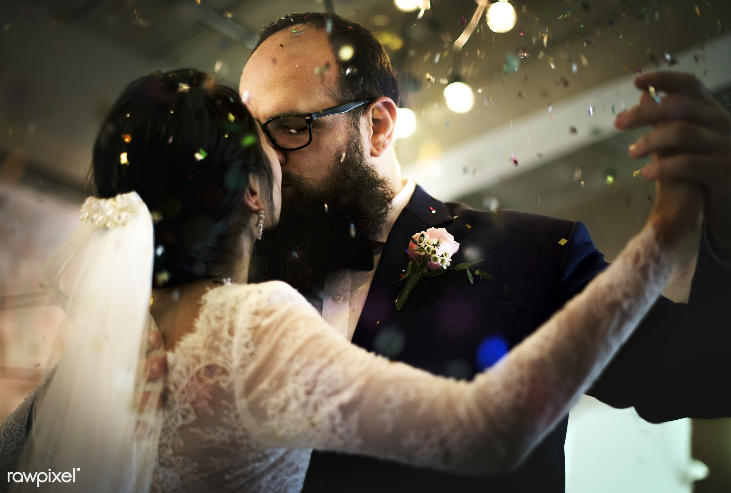holding, occasion, husband, people, love, married, hands, gala, spouse, banquet, bride, cheerful, closeup, confetti,...