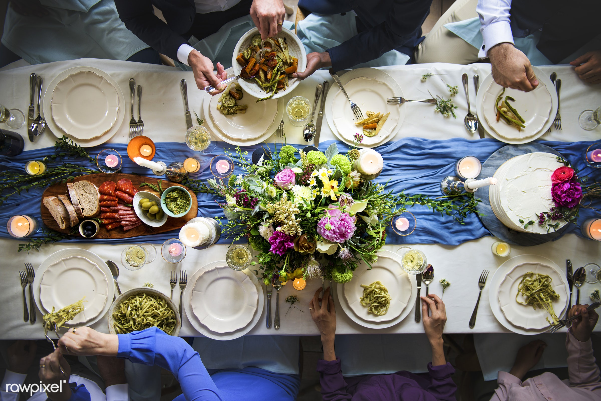 aerial view, celebration, diversity, eat, event, flat lay, food, friends, gather, group, guests, hands, occasion, pasta,...
