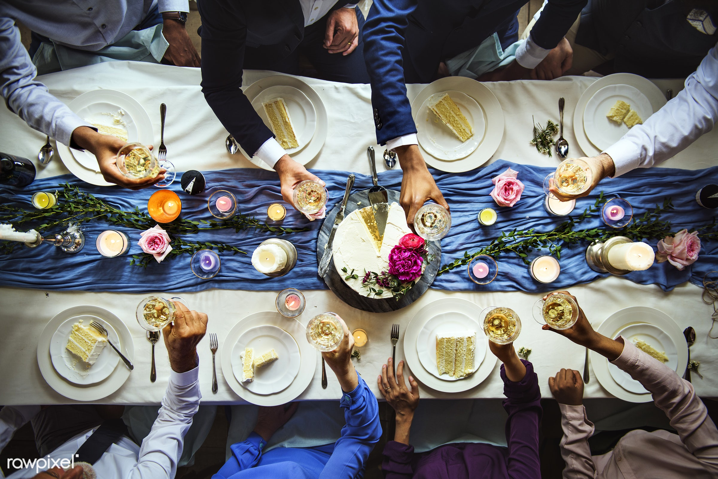 top view, flatlay, glasses, occasion, guests, people, drinks, together, table cloth, friends, hands, event, gather, cheers,...