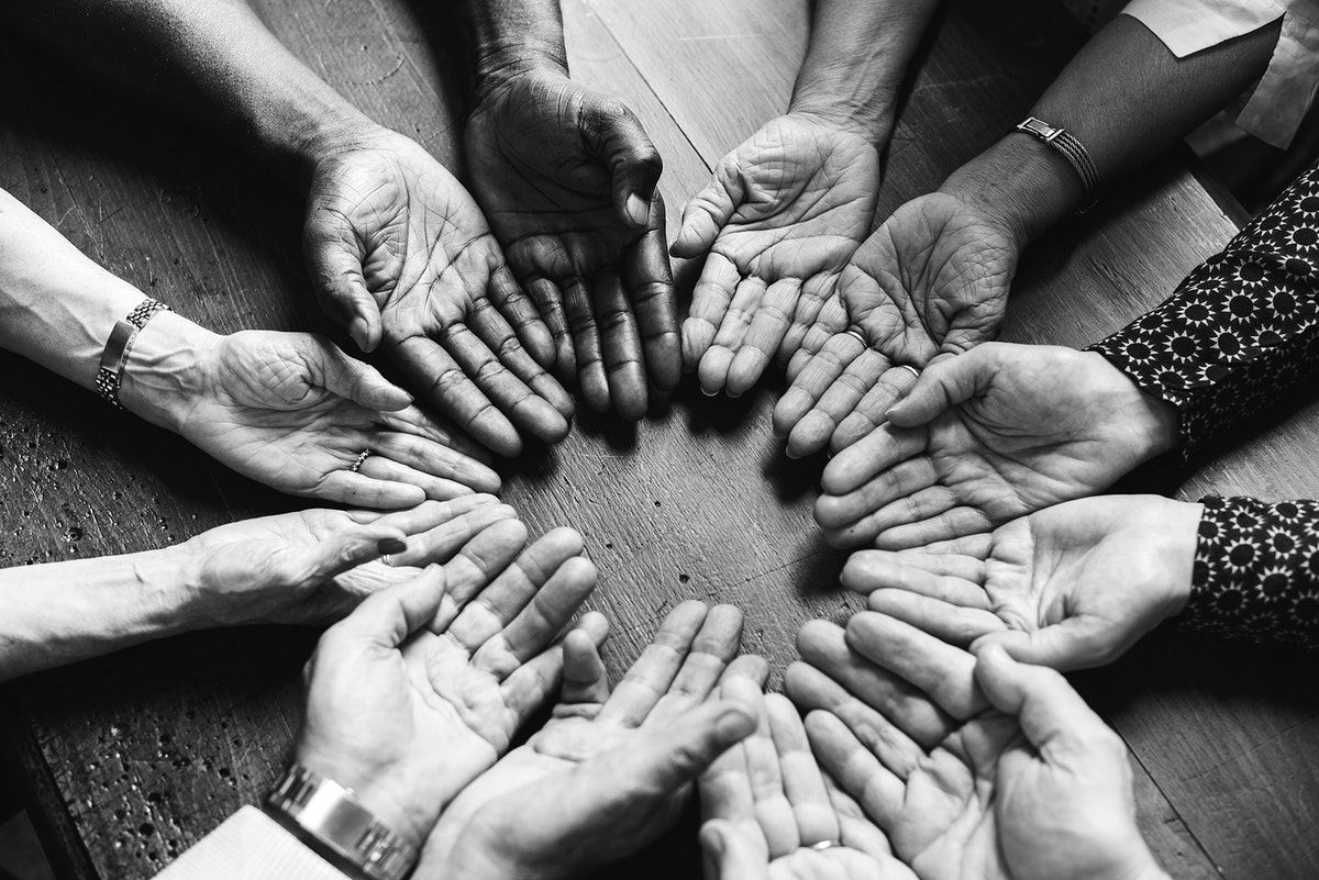 Ariel view of a diverse group of hands
