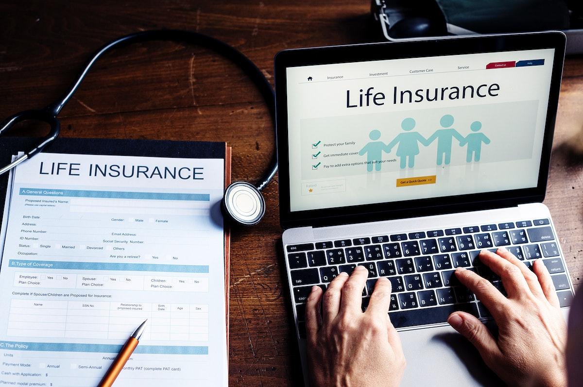 Life insurance plan on laptop screen