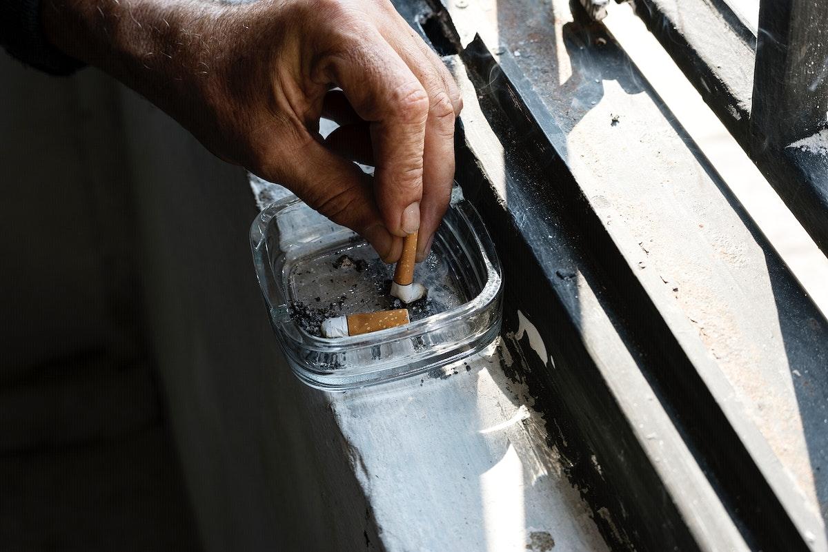Closeup of cigarette ashtray
