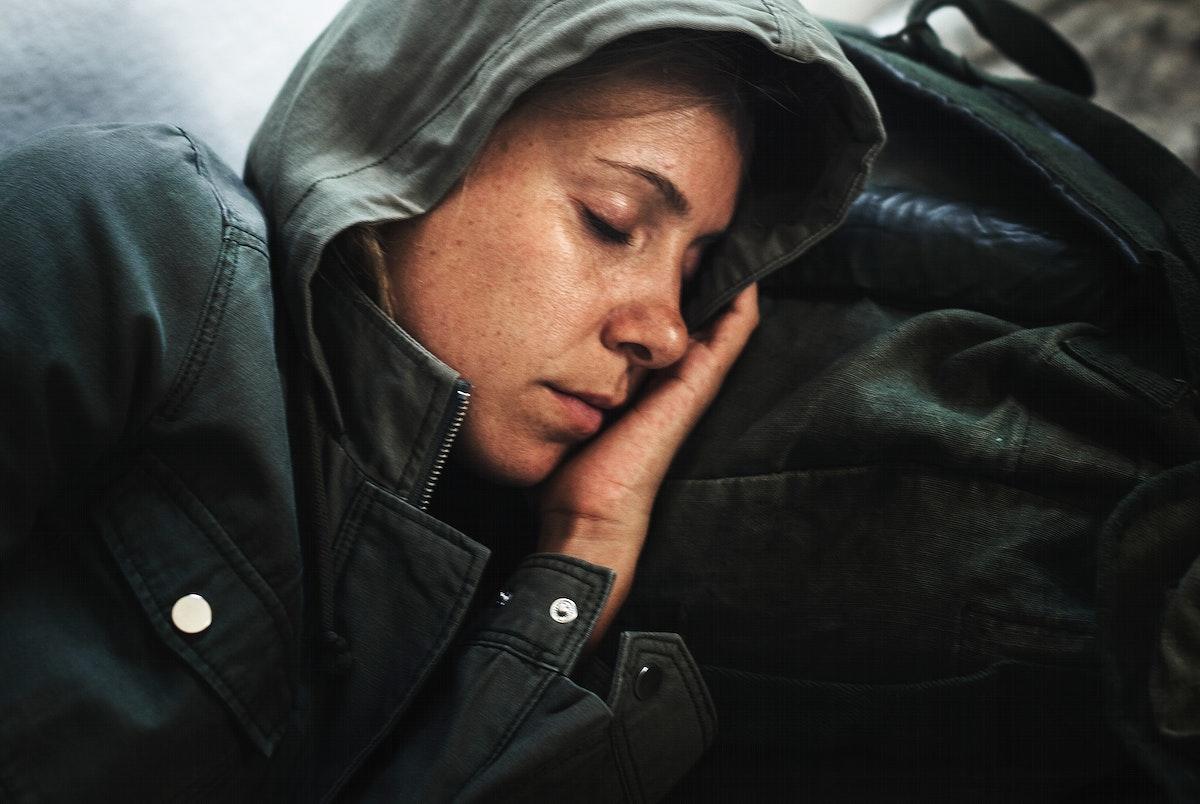 Homeless woman sleeping