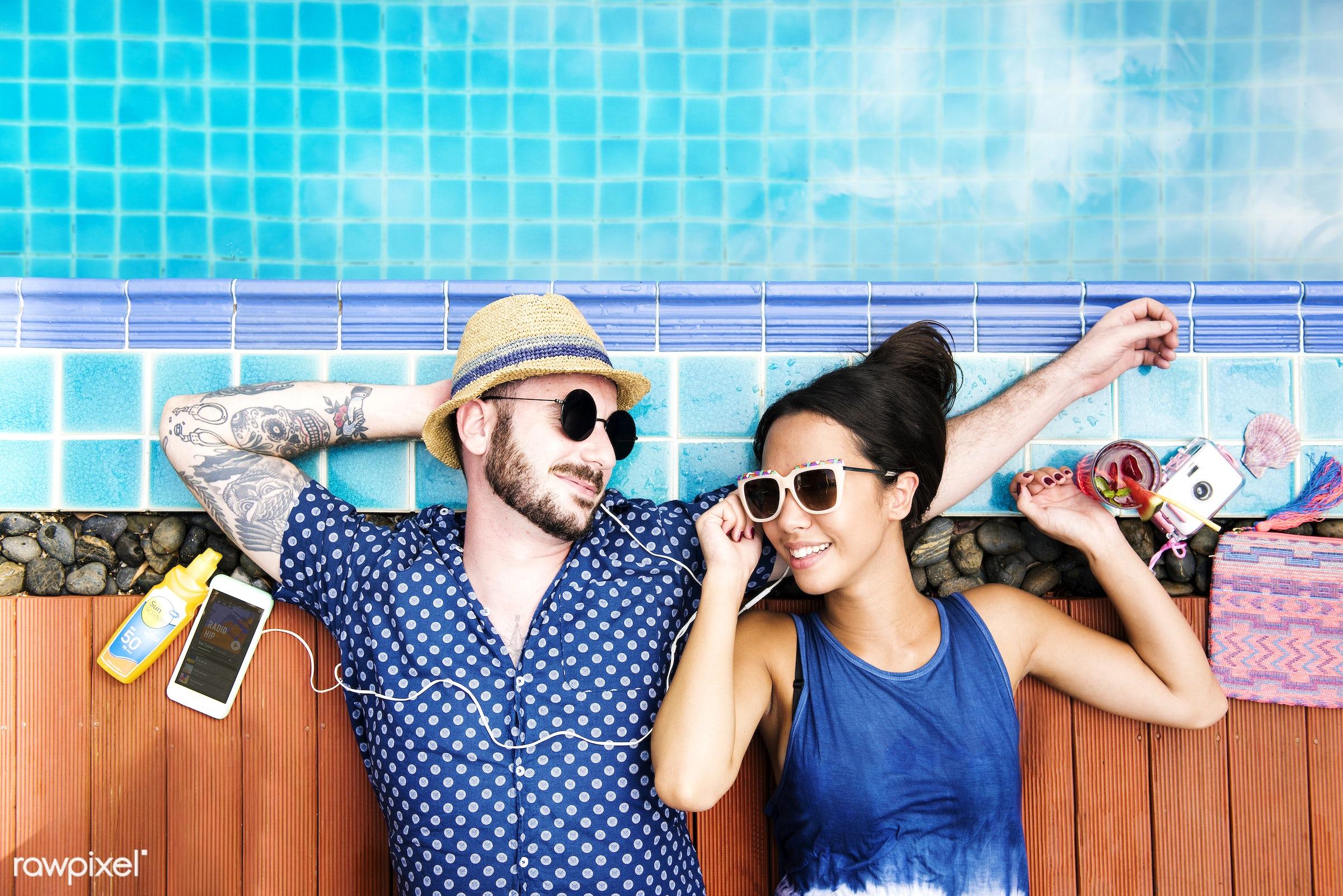 relax, recreation, asian, caucasian, love, pool, woman, mobile phone, couple, cheerful, smiling, man, lying, enjoying,...