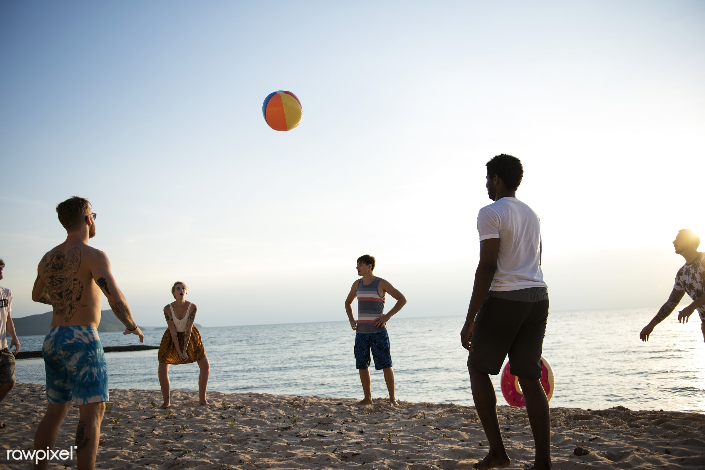 diverse, relax, inflatable ball, beach, recreation, people, coast, together, break, friends, cheerful, activity, sand, ball...