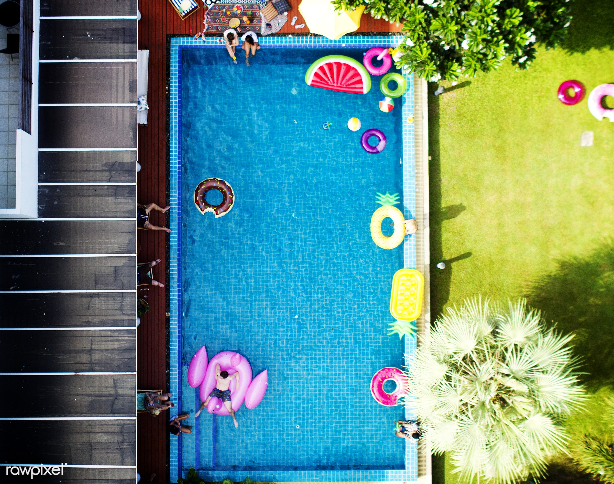 flamingo, pool, aerial, cheerful, diverse, enjoying, floating, friends, fun, group, happiness, inflatable, joyful, leisure,...