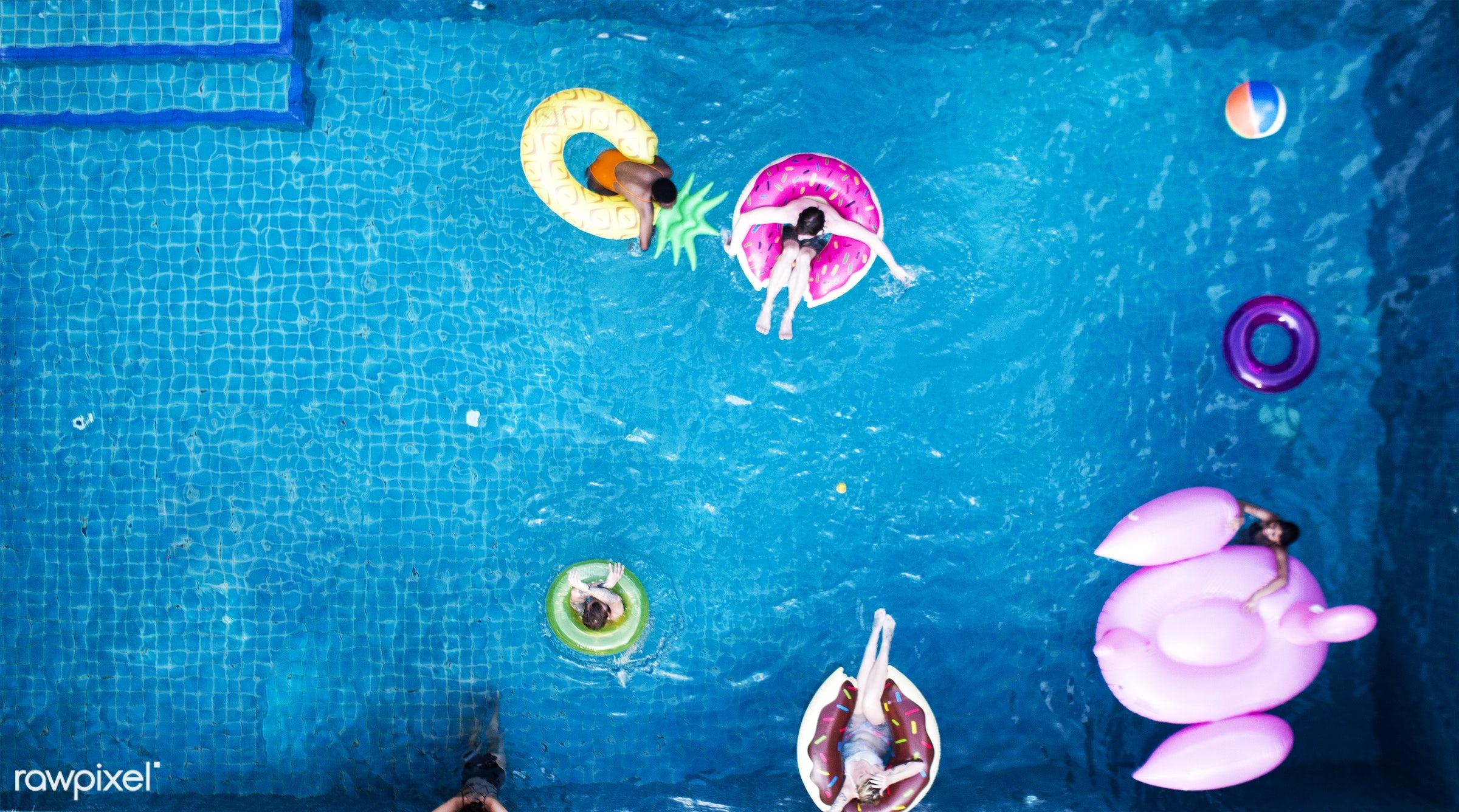 pool, aerial, diverse, enjoying, flamingo, floating, friends, fun, group, happiness, inflatable, joyful, leisure, outdoors,...