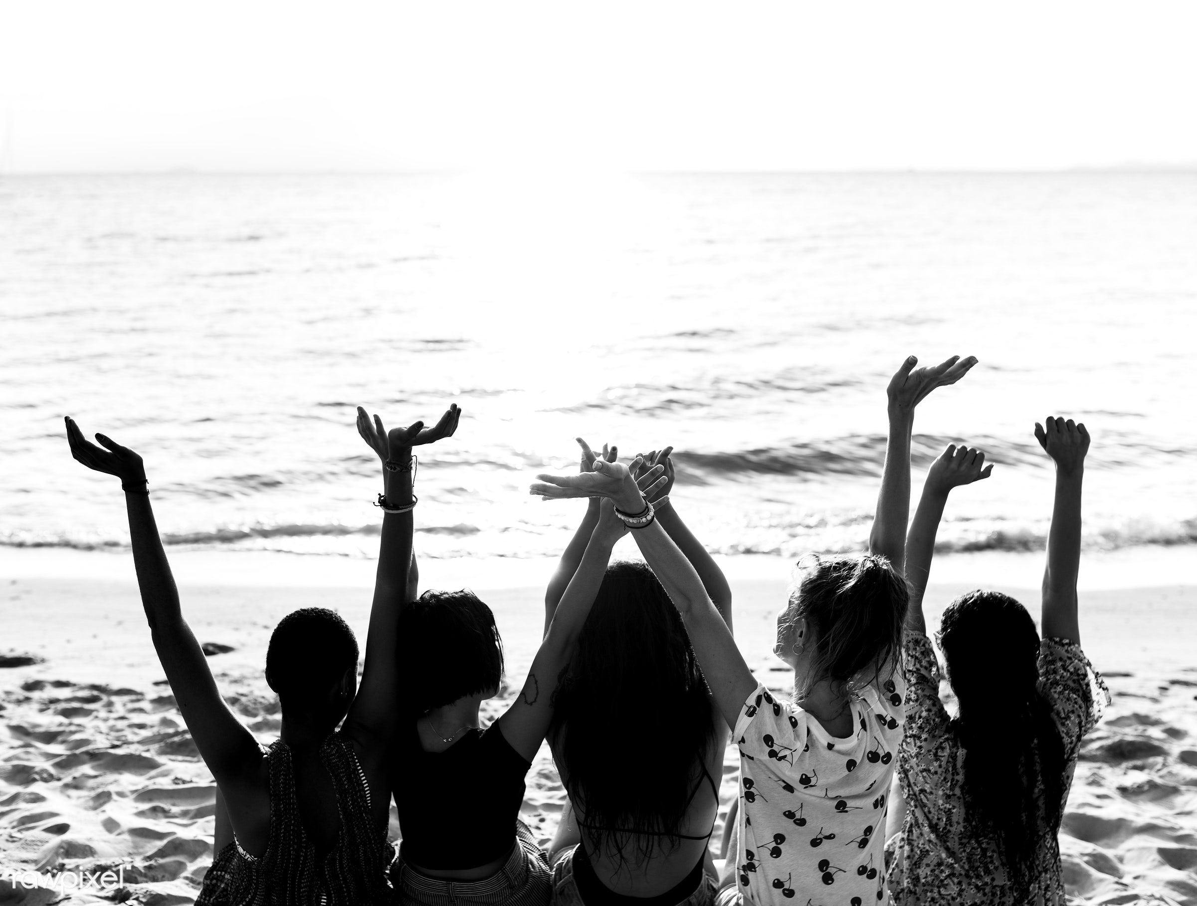 relax, diverse, arms raised, beach, people, together, coast, break, friends, tattoo, cheerful, activity, sand, rear view,...