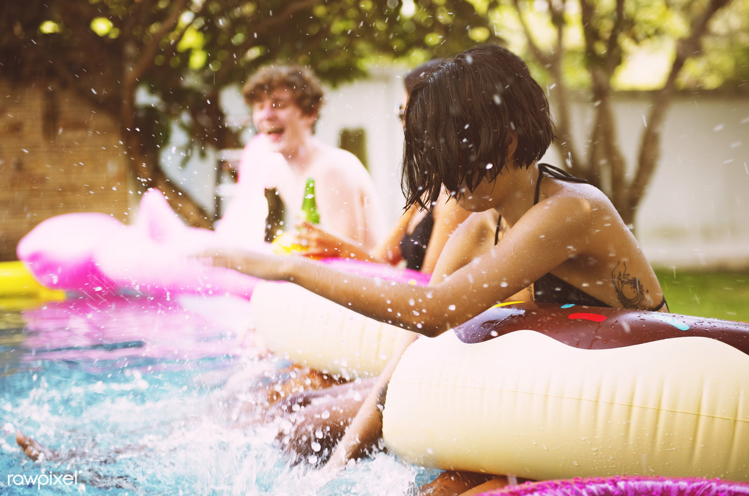 beverage, bottles, can, cheerful, diverse, drink, enjoying, floating, friends, fun, group, happiness, inflatable, joyful,...