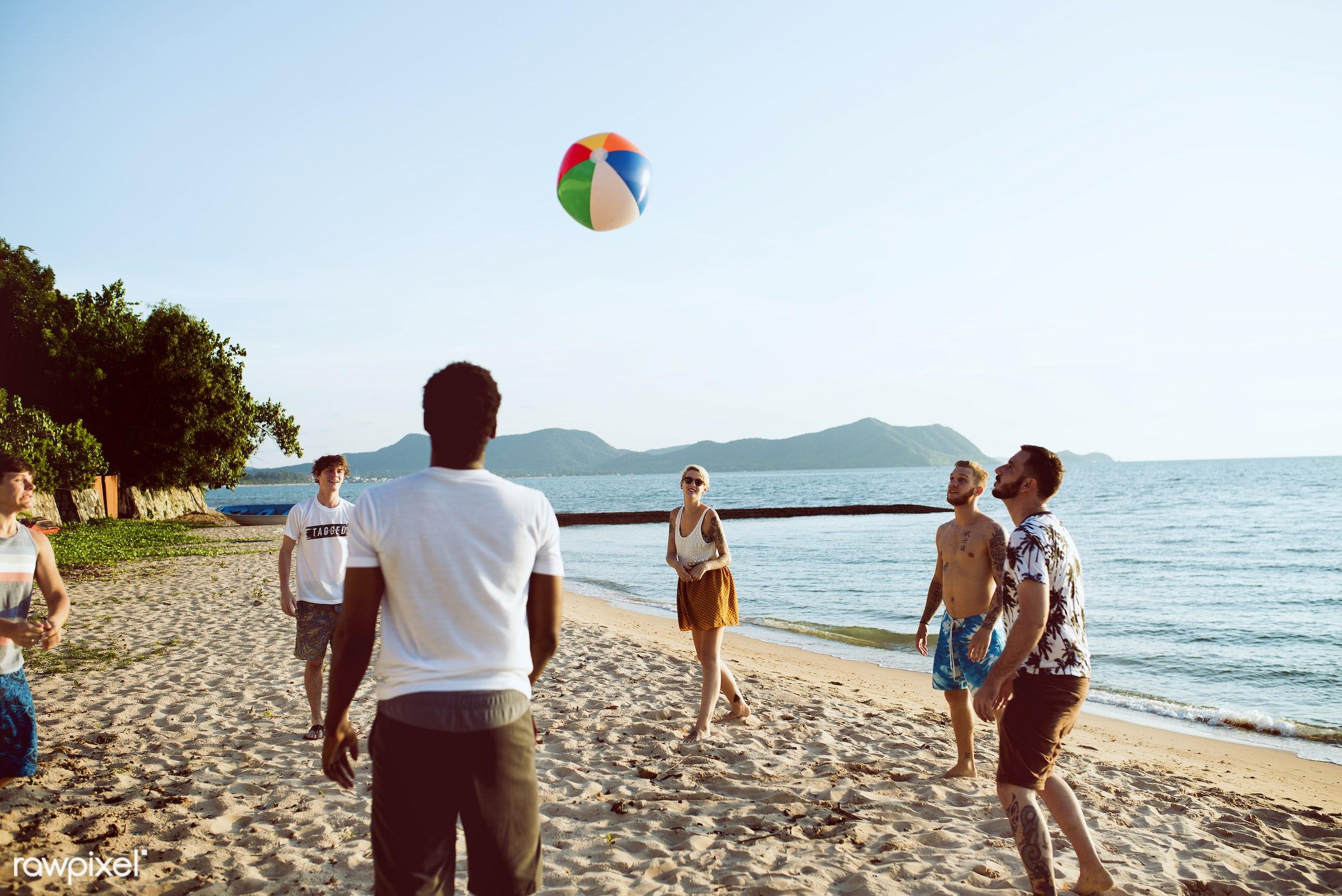 beach, summer, happiness, activity, ball, beach ball, break, cheerful, coast, diverse, enjoying, friends, fun, group,...