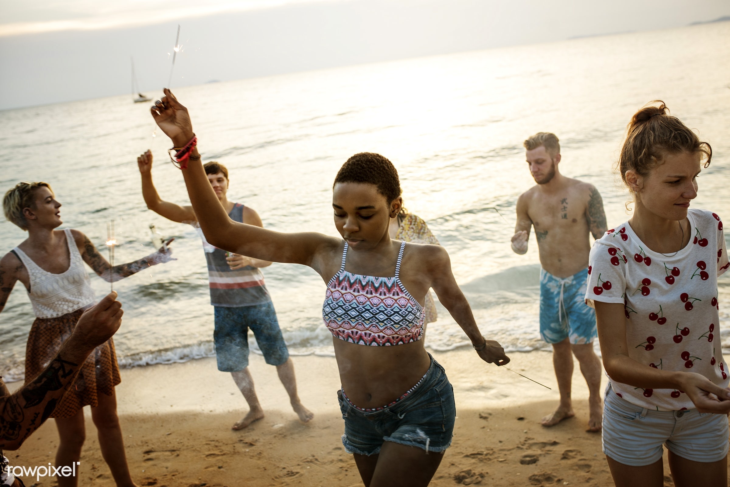 activity, arms raised, beach, beers, beverage, break, cheerful, coast, diverse, drinks, enjoying, friends, fun, group,...