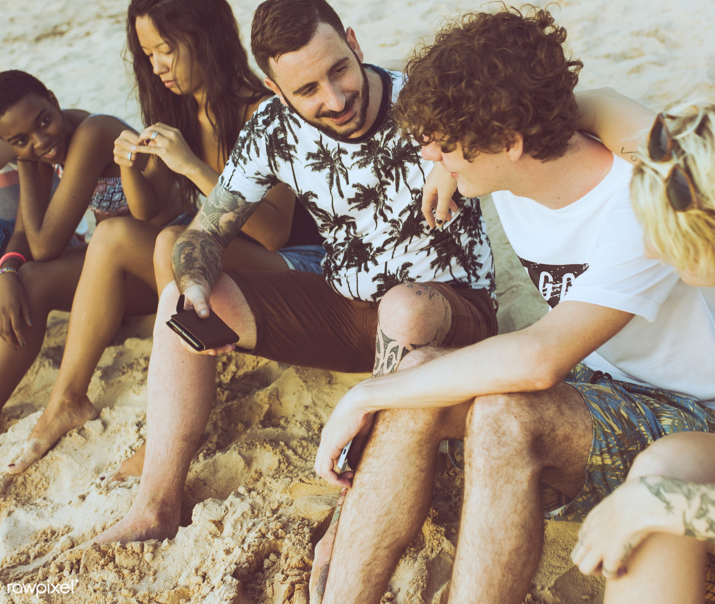 beach, break, cheerful, coast, diverse, enjoying, friends, fun, group, happiness, holiday, leisure, outdoors, people,...