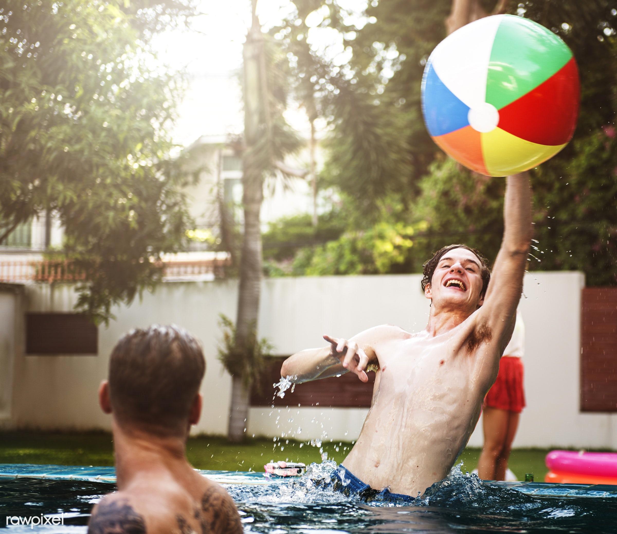 beach ball, cheerful, diverse, enjoying, friends, fun, group, happiness, inflatable, inflatable ball, joyful, leisure,...