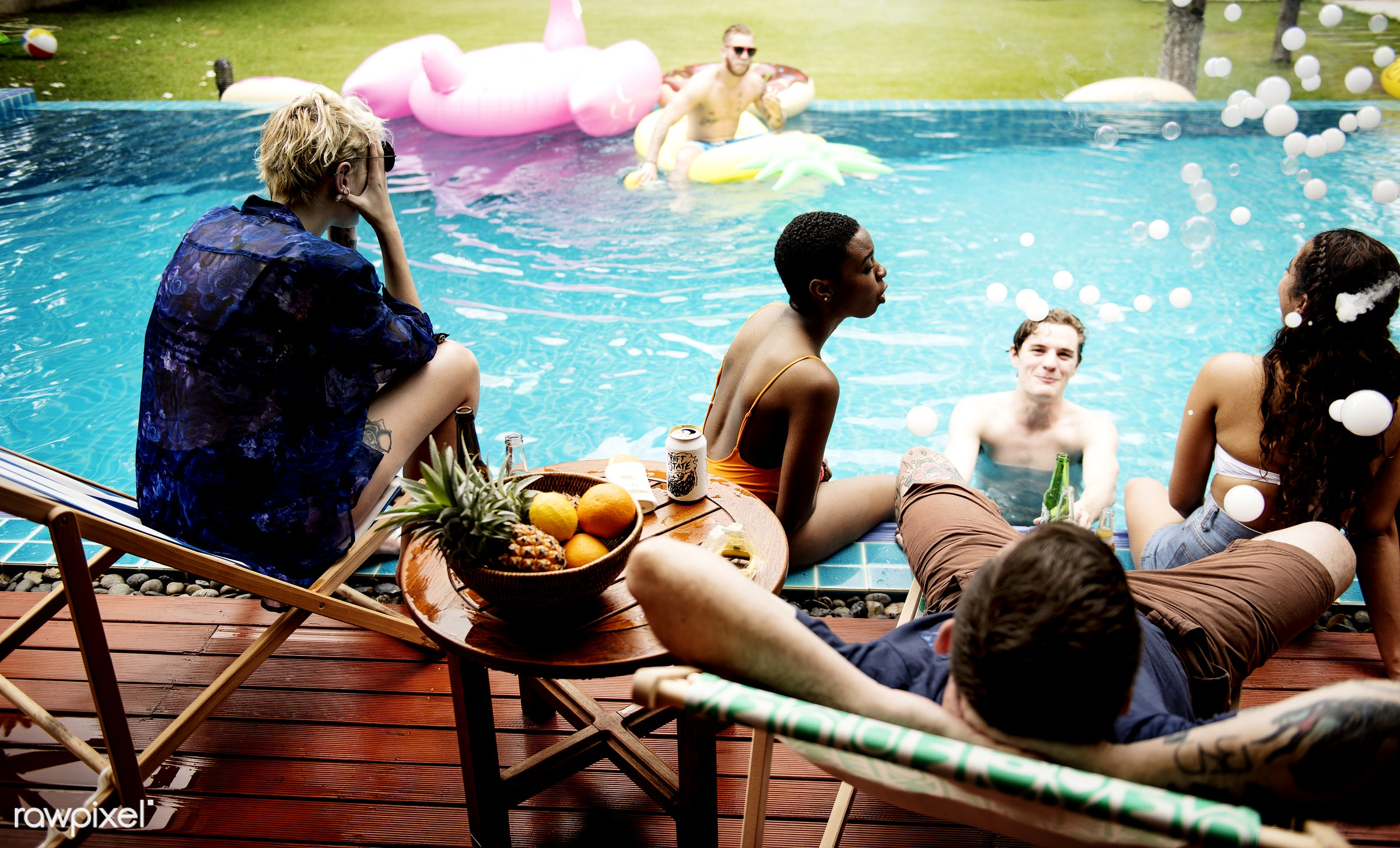 tattooed, diverse, relax, house, party, people, caucasian, asian, friends, pool, inflatables, men, tubes, cheerful, talk,...