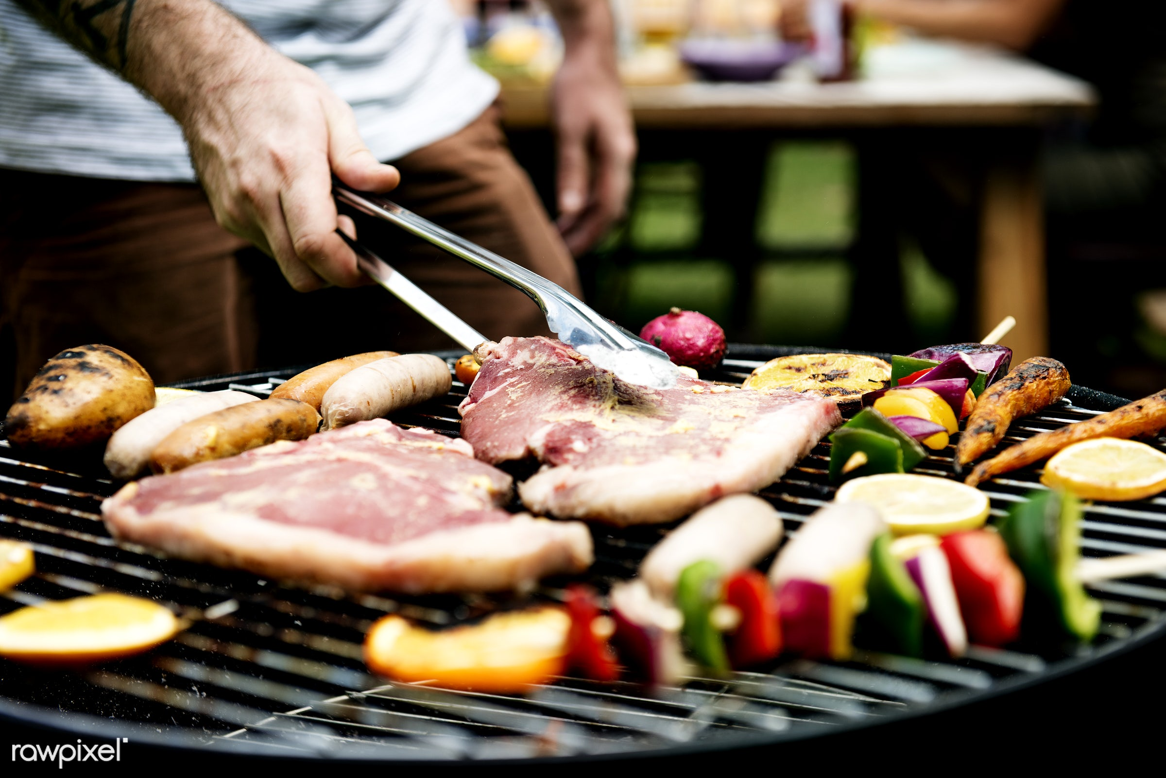 grill, yard, diverse, steaks, homemade, party, people, together, hands, cooking, meats, bbq, activity, meal, park, grass,...