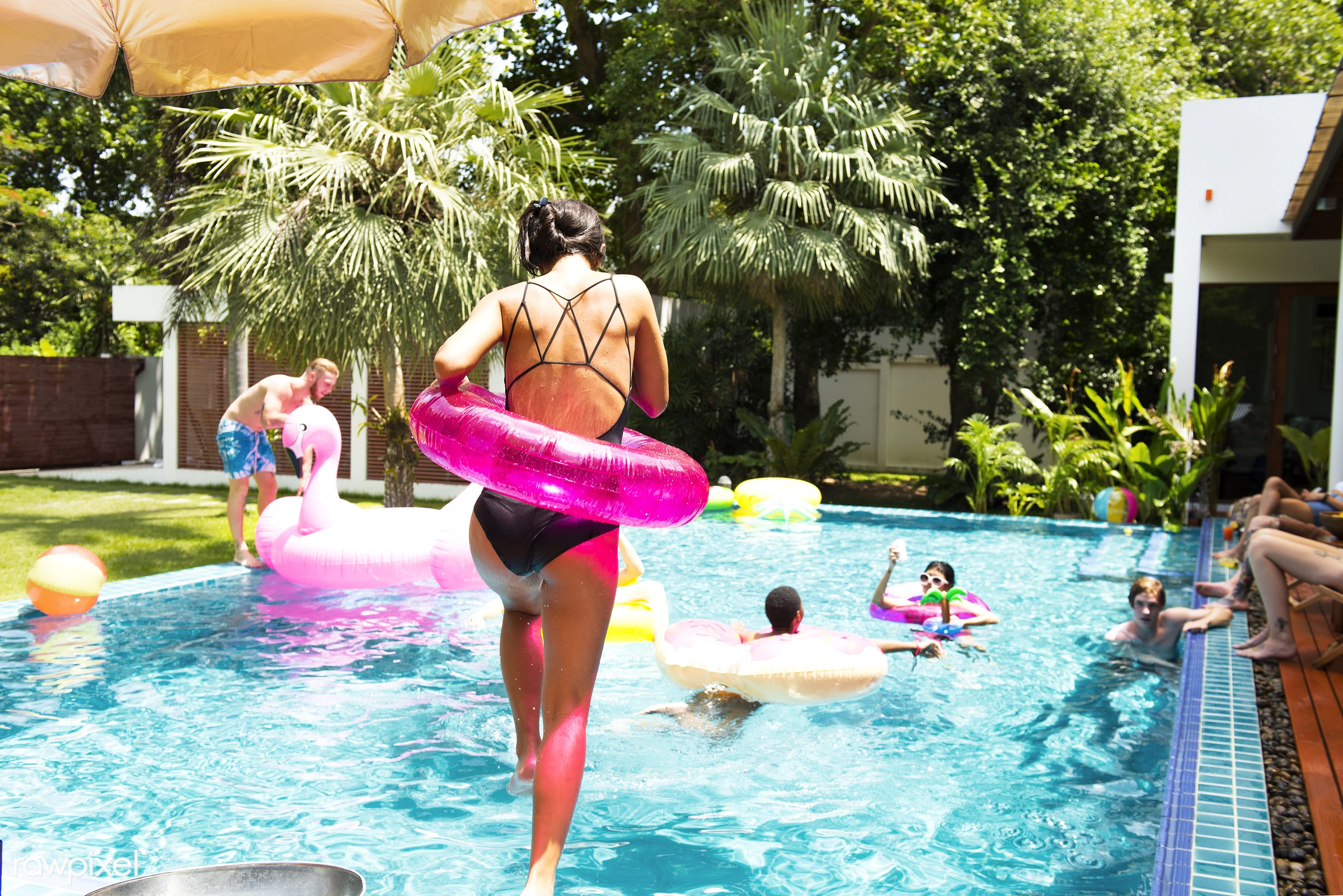 jumping, relax, diverse, recreation, party, people, together, asian, friends, pool, tubes, cheerful, enjoying, happiness,...
