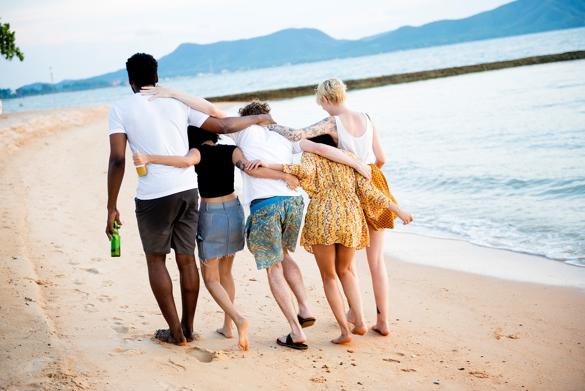 Rear view of diverse friends at the beach together