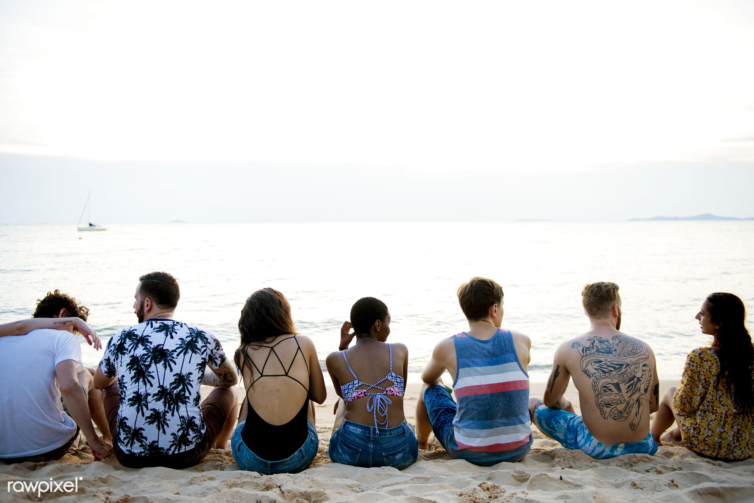 relax, diverse, beach, recreation, people, together, coast, break, friends, tattoo, cheerful, activity, sand, rear view,...