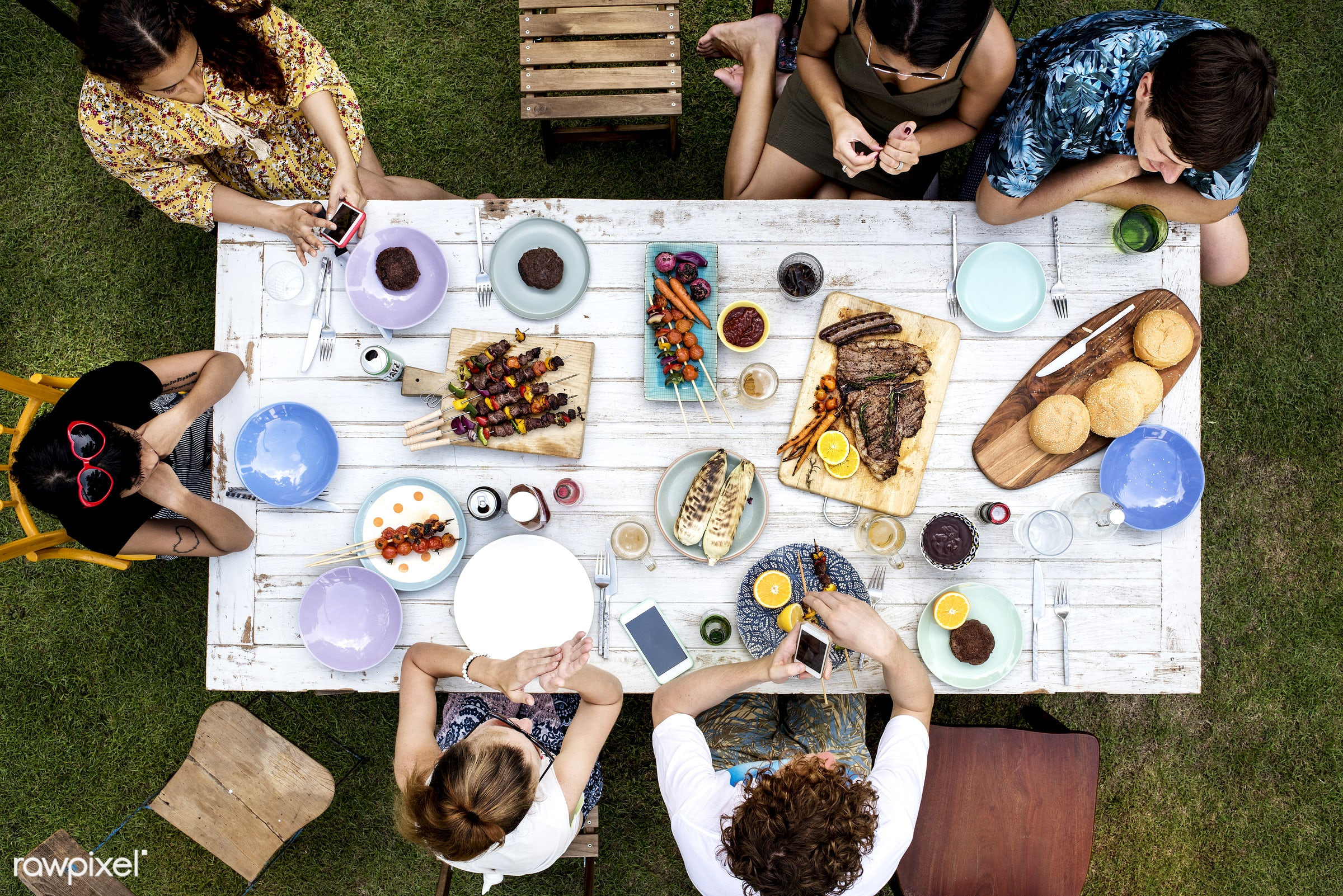 bbq, aerial, barbecue, cheerful, diverse, eat, enjoying, food, friends, fun, gathering, grilled, group, hands, homemade,...