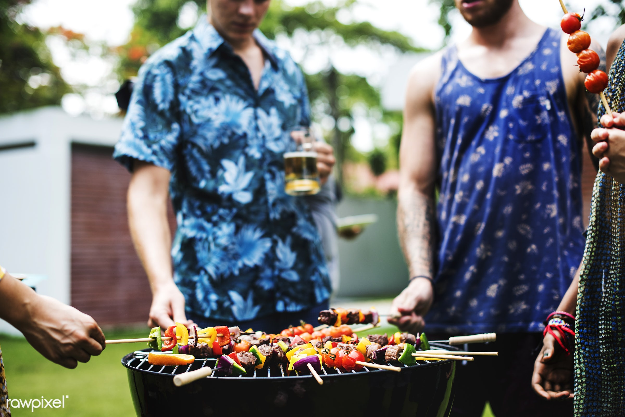 grill, yard, diverse, homemade, party, people, together, friends, hands, cooking, meats, bbq, activity, meal, park, grass,...