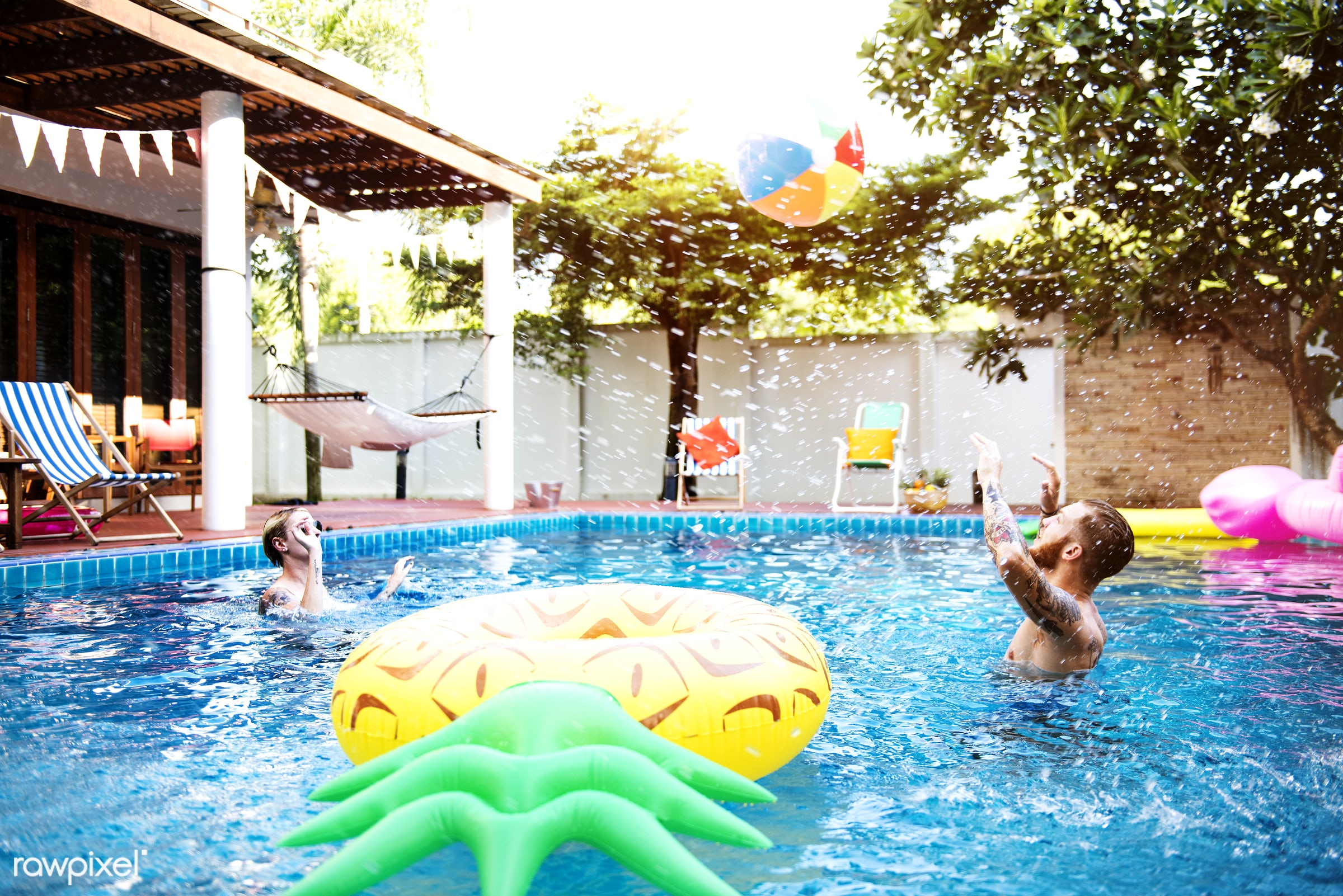 relax, diverse, recreation, party, people, together, friends, pool, tubes, cheerful, enjoying, happiness, leisure, fun,...