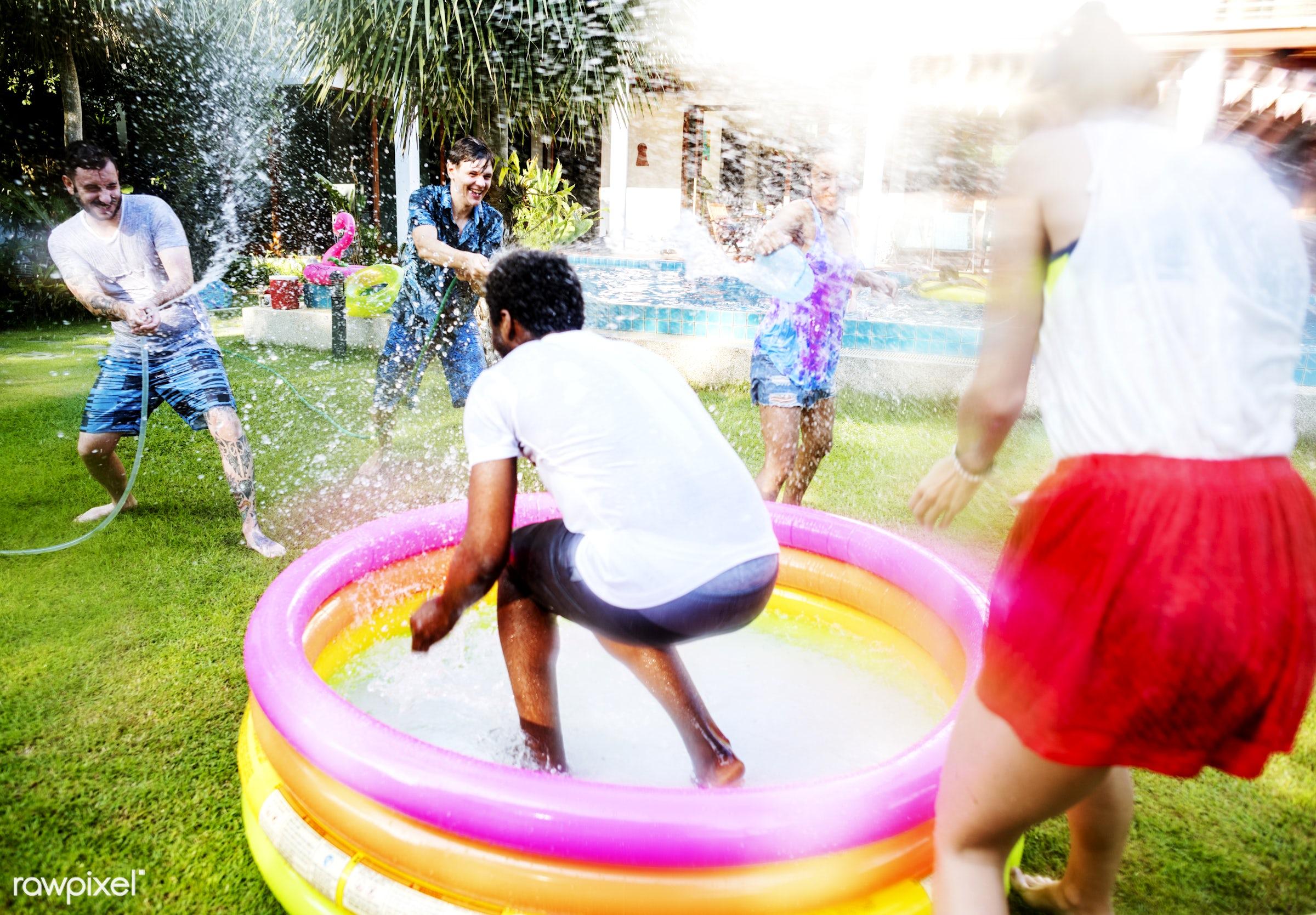 summer, holiday, fun, happy, joy, people, relax, diverse, pool, activity, backyard, casual, cheerful, enjoy, enjoyment, girl...