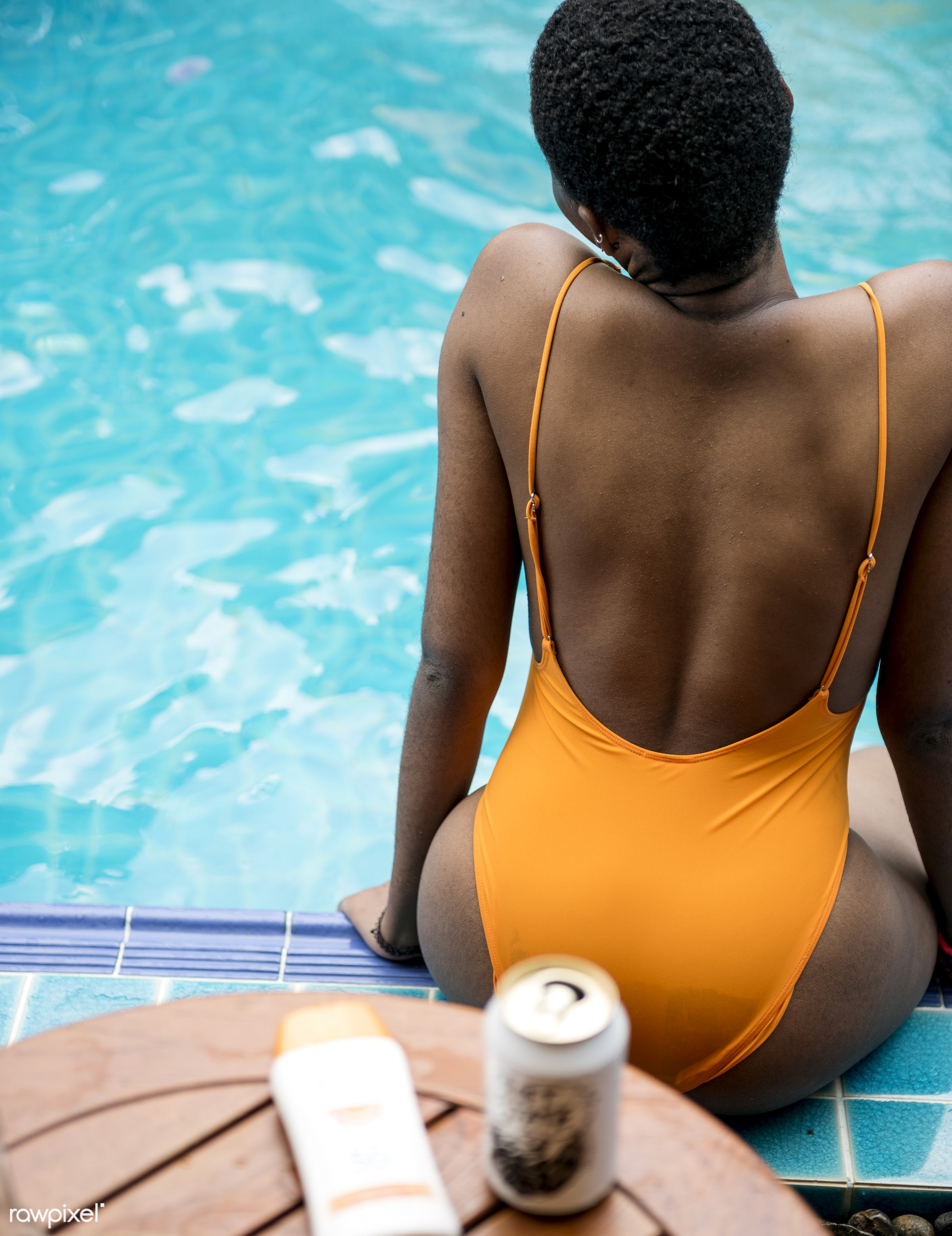 relax, recreation, pool, woman, cheerful, alone, closeup, rear view, enjoying, african descent, happiness, leisure, fun,...