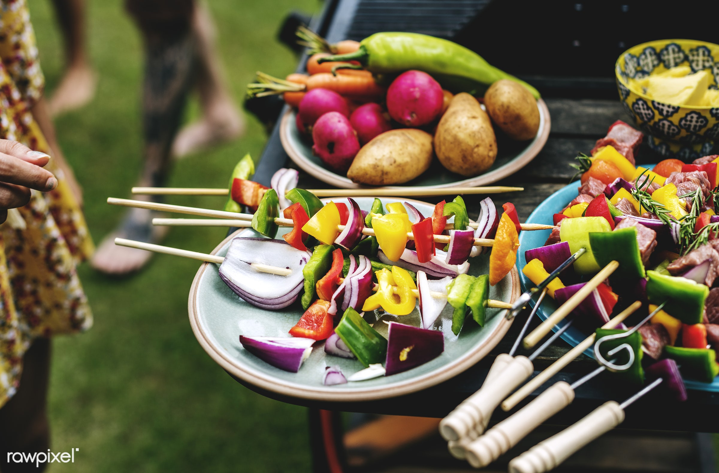 grill, yard, diverse, homemade, party, spices, hand, seasoning, fresh, cooking, tattoo, meats, bbq, meal, park, grass,...