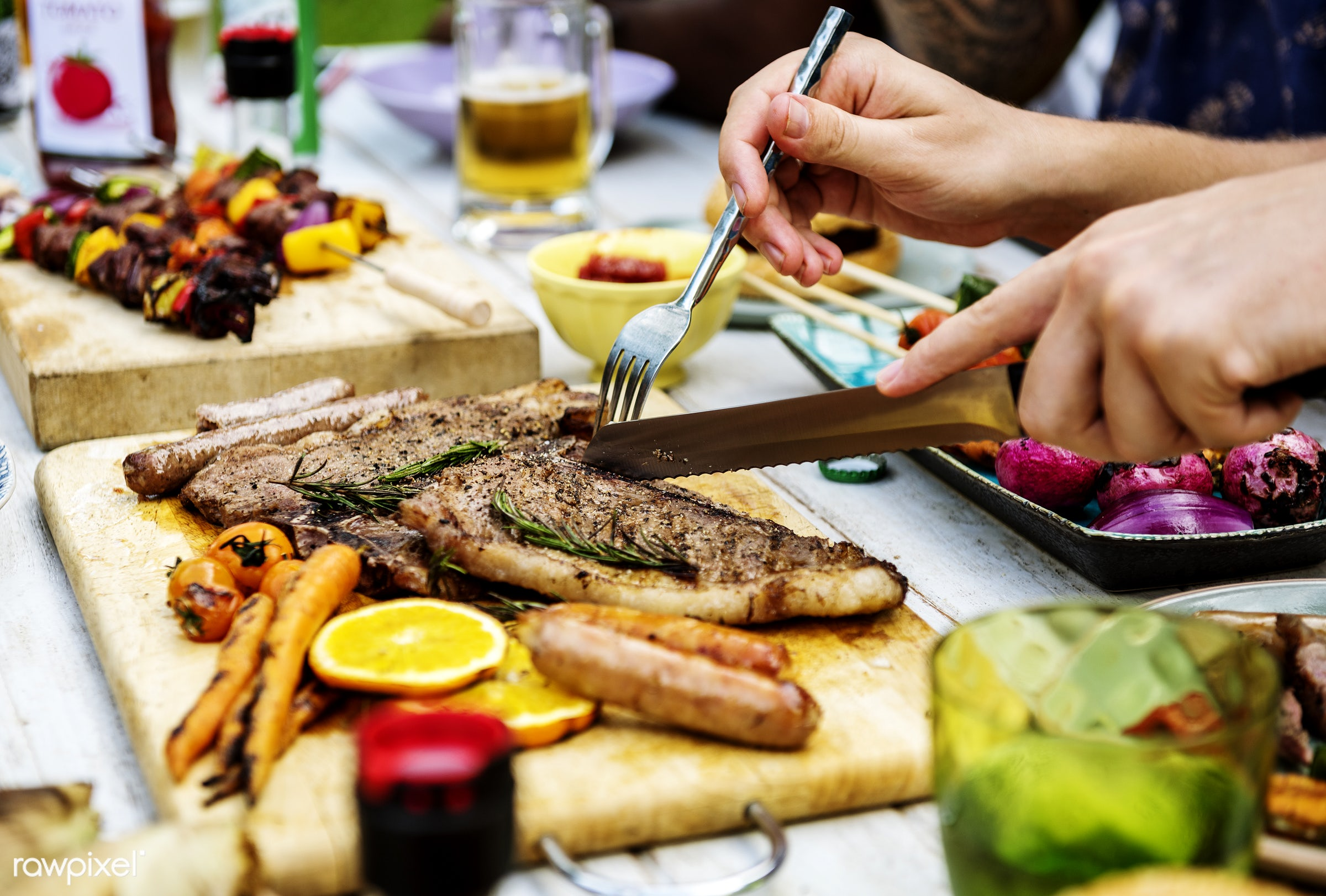 grill, tomato, party, homemade, hand, seasoning, meat, roasted, rosemary, activity, closeup, well done, meal, steak, cut...