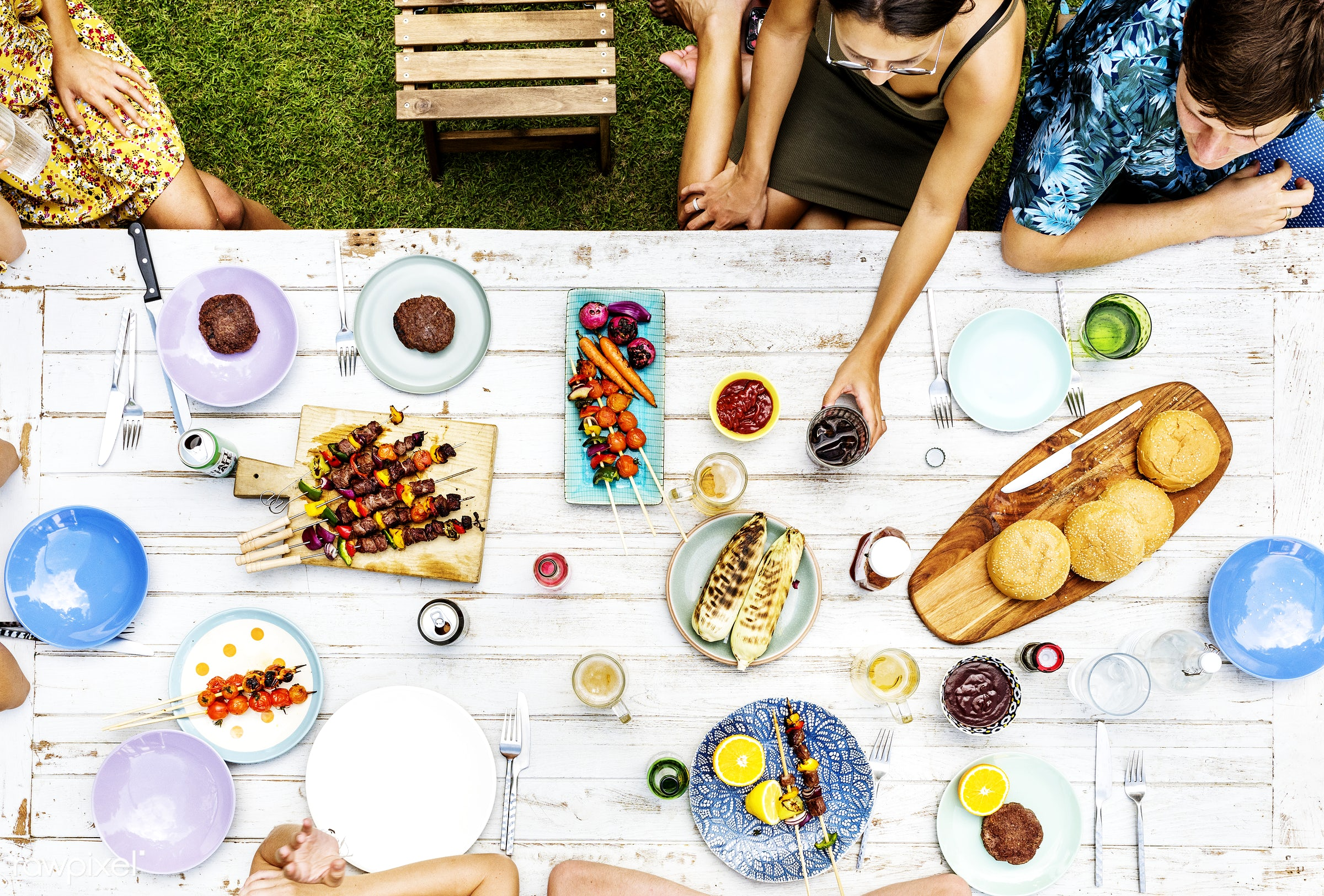 Group of friends having a yard party - relax, diverse, party, homemade, people, together, friends, hands, gathering, meats,...