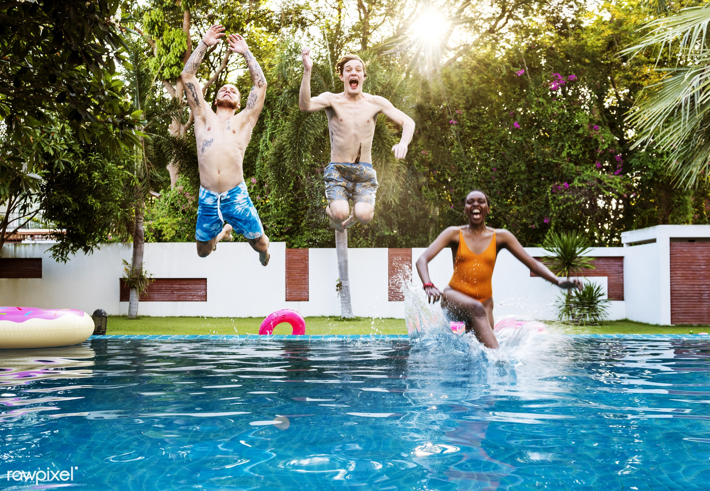 african descent, carefree, caucasian, cheerful, diverse, enjoying, enjoyment, friends, fun, group, happiness, inflatable,...