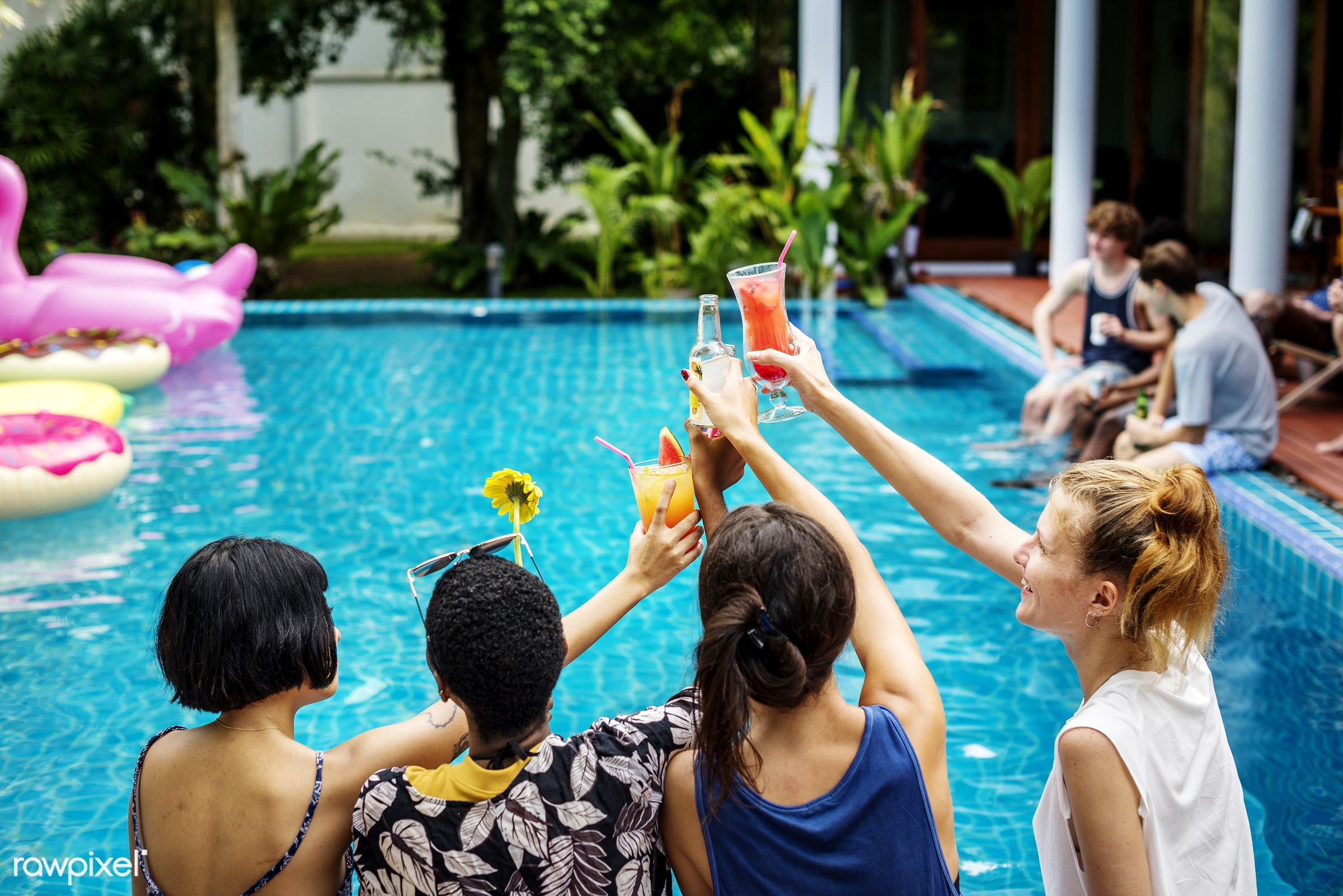 buoy, diverse, tropical, socialize, travel, party, drinks, swimming, asian, teenage, caucasian, friends, pool, juice, casual...