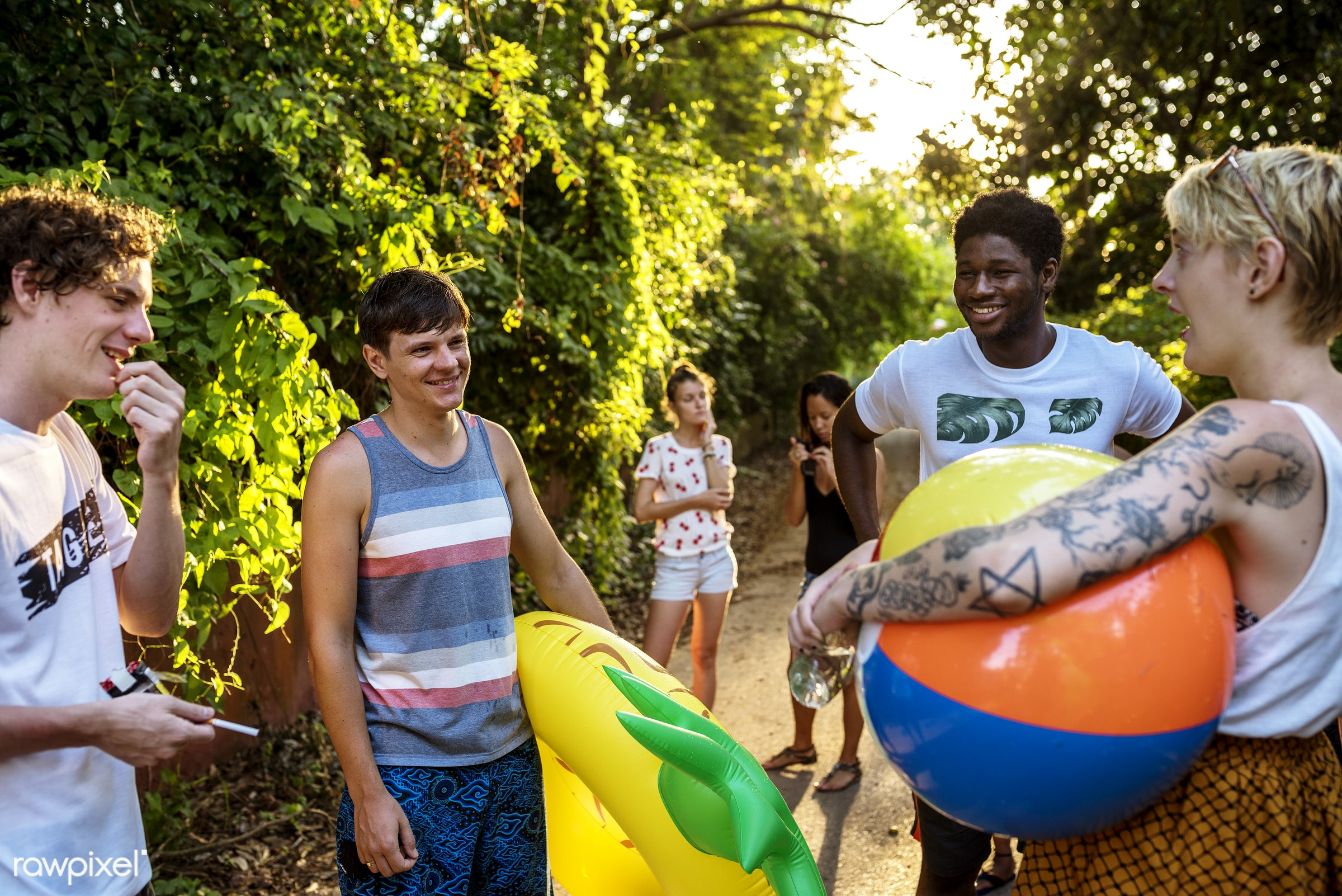 alley, balls, cheerful, diversity, expression, friends, fun, group, happiness, inflatable, leisure, looking, nature,...