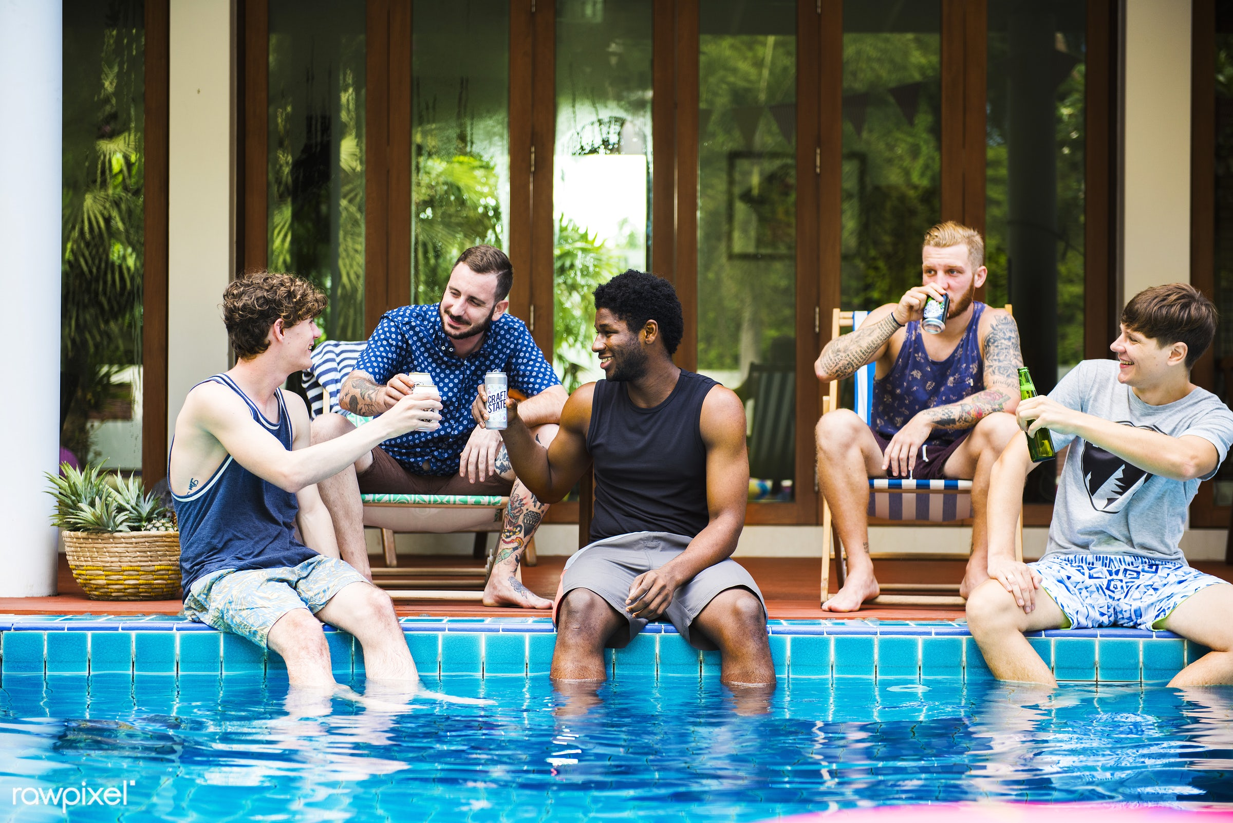 relax, diverse, house, recreation, party, people, drinks, guys, together, caucasian, friends, beer, pool, men, tubes,...