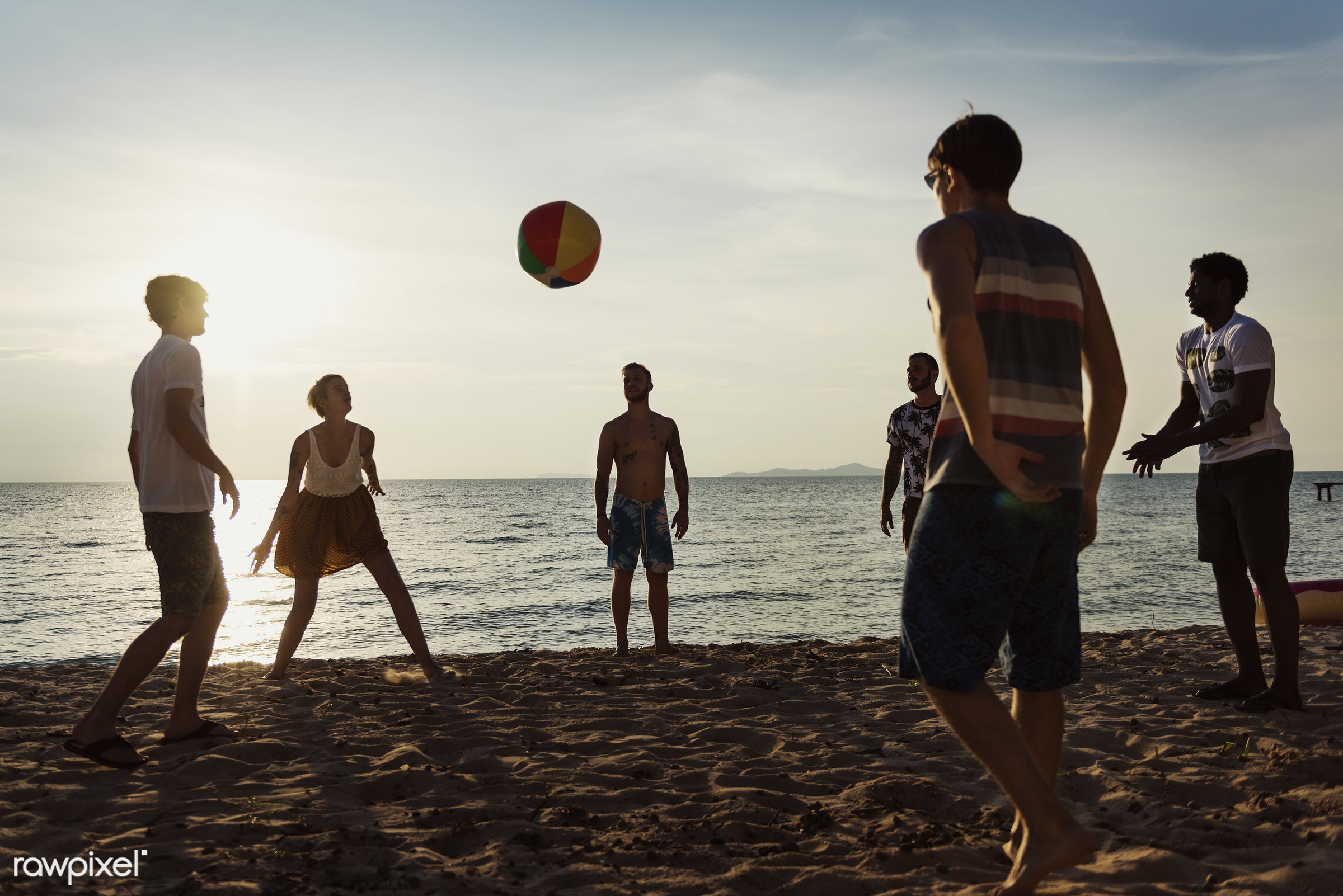 diverse, relax, inflatable ball, beach, recreation, people, coast, together, break, friends, tattoo, cheerful, sand, ball,...