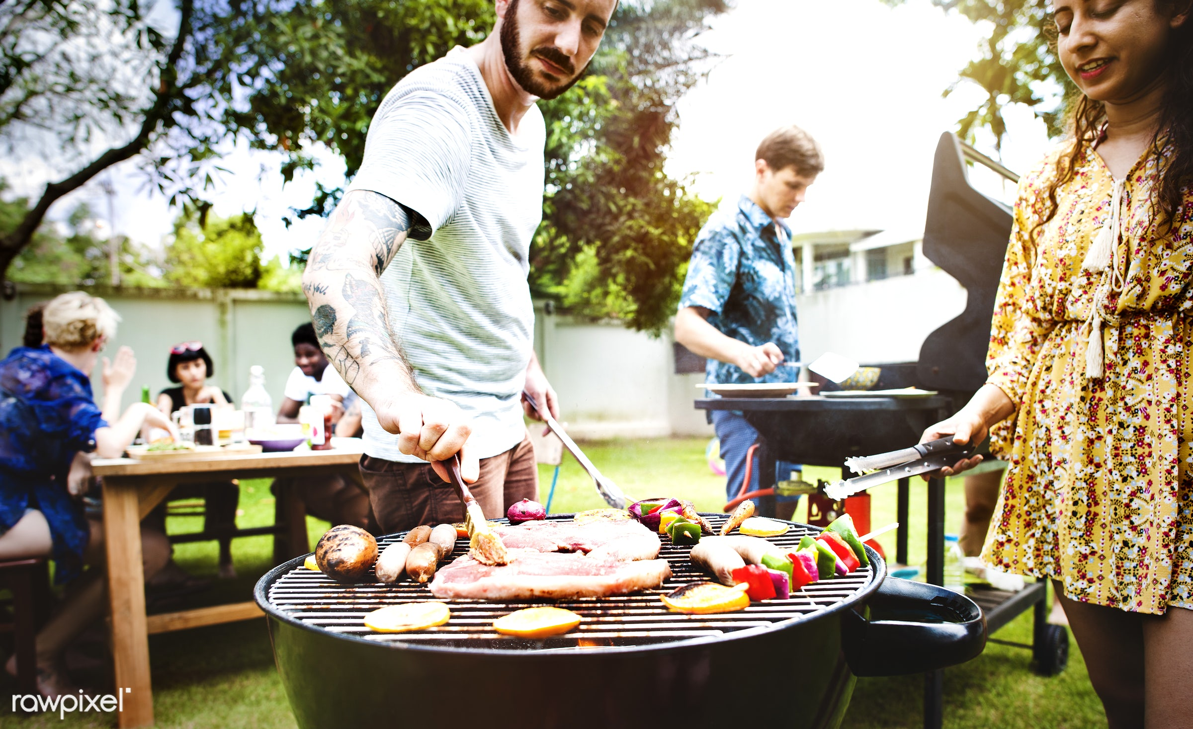 grill, tomato, yard, diverse, homemade, party, people, together, friends, hands, fresh, casual, cooking, tattoo, meats, bbq...