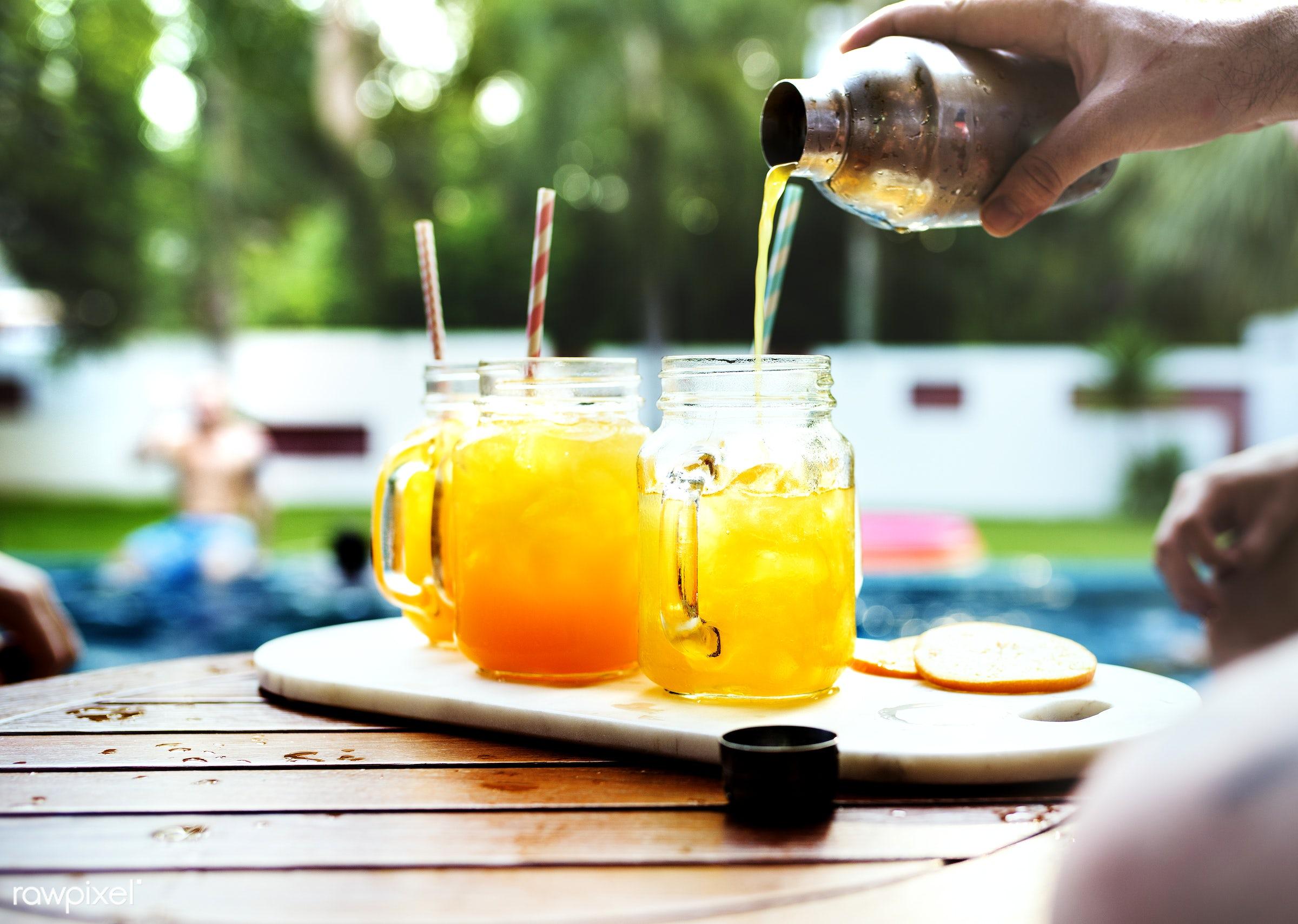 cocktail, pool, beverage, cocktails, drink, fruit, glass, hanging out, juice, leisure, mocktail, orange, party, poolside,...